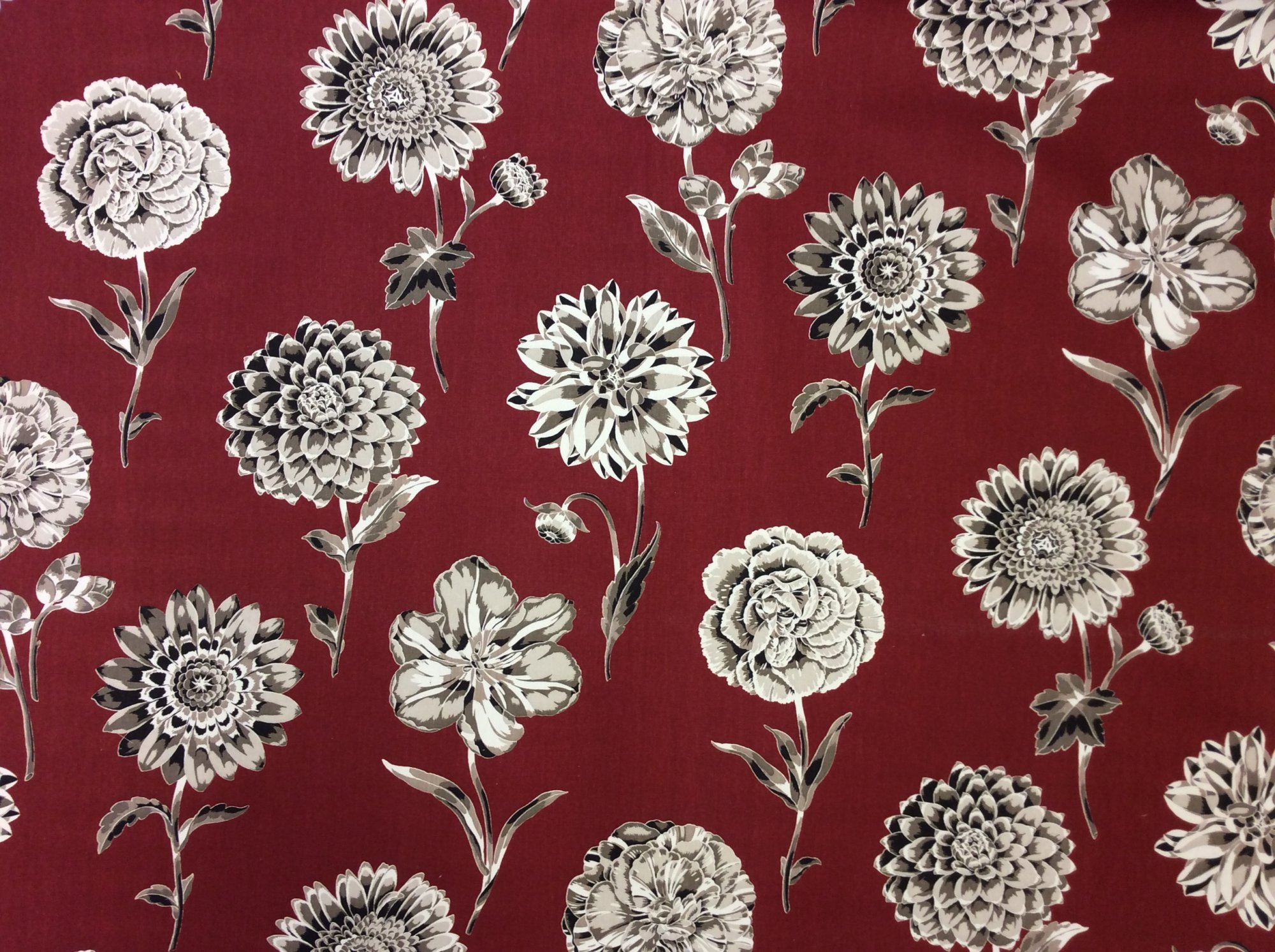 Outstanding Contemporary Floral Print Peony and Dahlia Large Scale Heavy Weight Cotton Fabric HD717