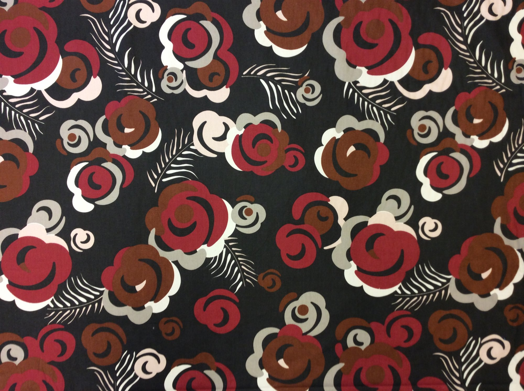 6 YARD BOLT! Dwell Studio Retro Modern Floral Feather Bold Red Grey Cotton Fabric Upholstery Fabric SALE!  LHD202