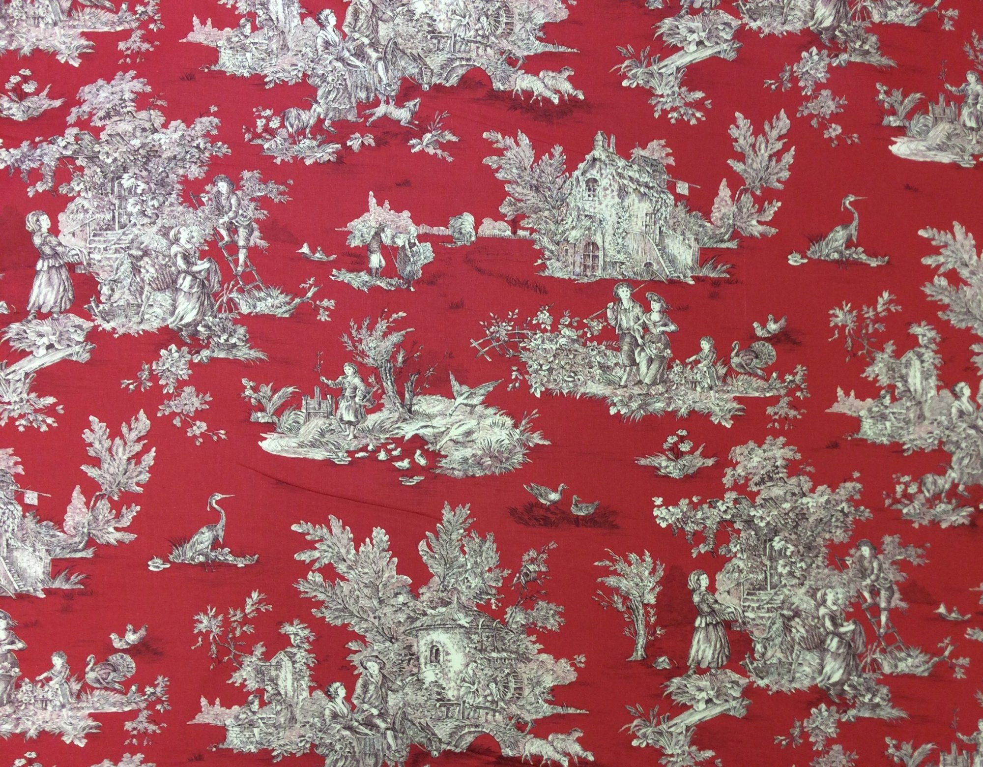 Printed in Spain Extra Wide Printed Country French Toile Home Decor Upholstery Fabric HLPA02
