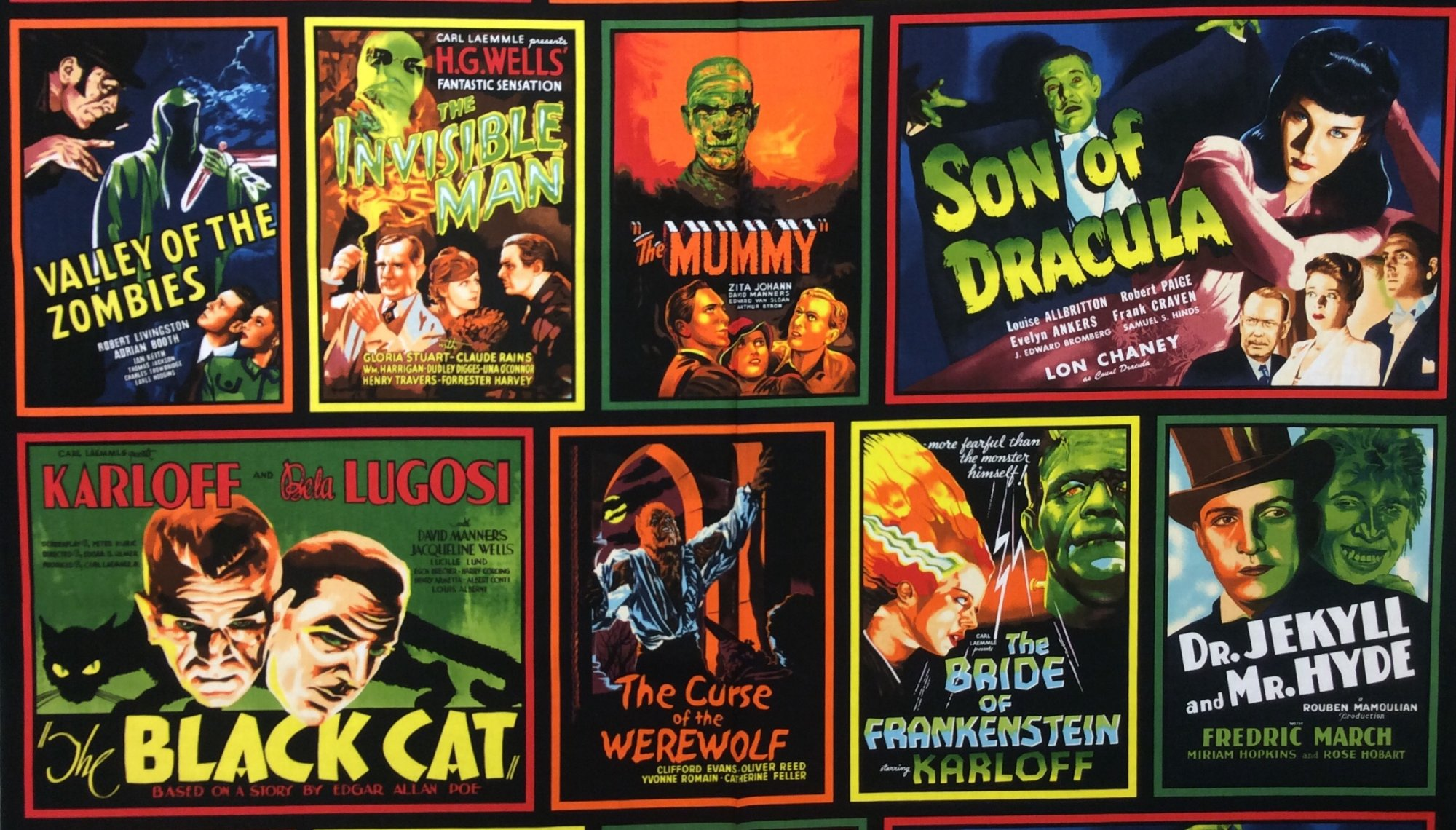 Horror Movie Poster Cinema Series Vintage Horror Movies Karloff Zombie Frankenstein Werewolf The Black Cat Invisible Man Cotton Quilting Fabric RK209