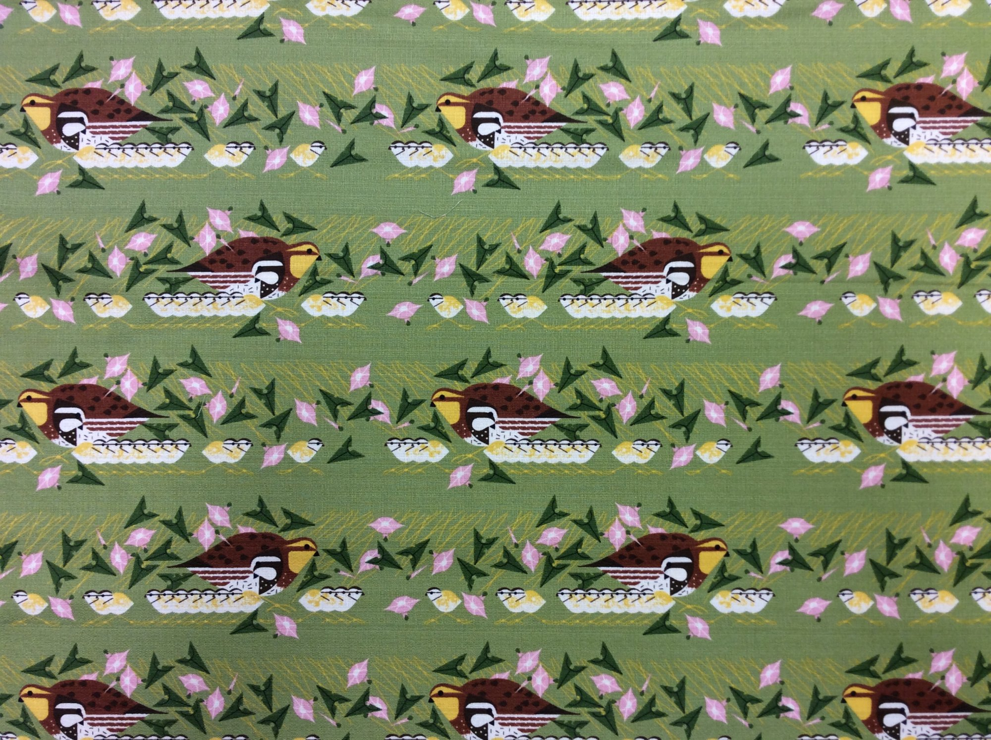 Charley Harper Barkcloth Family Outing Song Bird Wide Organic Cotton Mid Century Cotton Home Dec Fabric CHB114