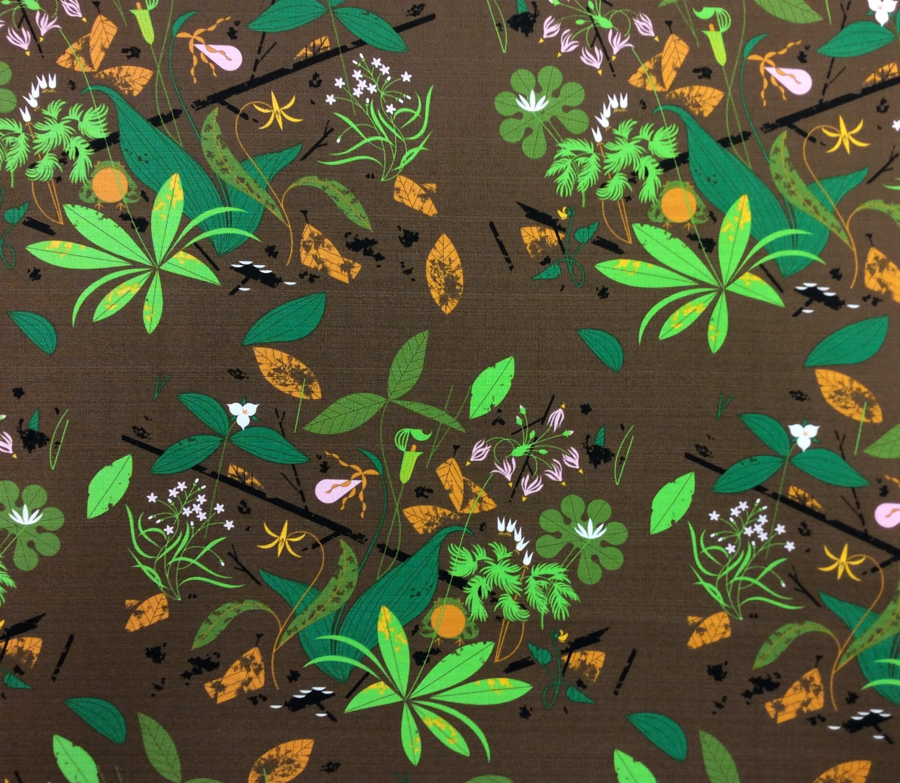 Charley Harper Barkcloth Spring Wildflowers Wide Organic Cotton Mid Century Cotton Home Dec Fabric CHB113