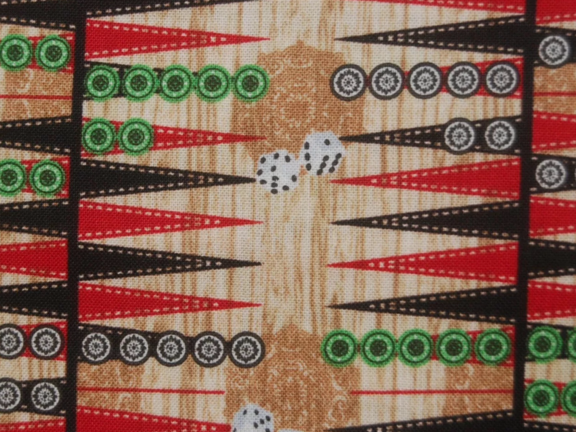 Backgammon Board Game Retro Style Cotton Quilt Fabric TT40