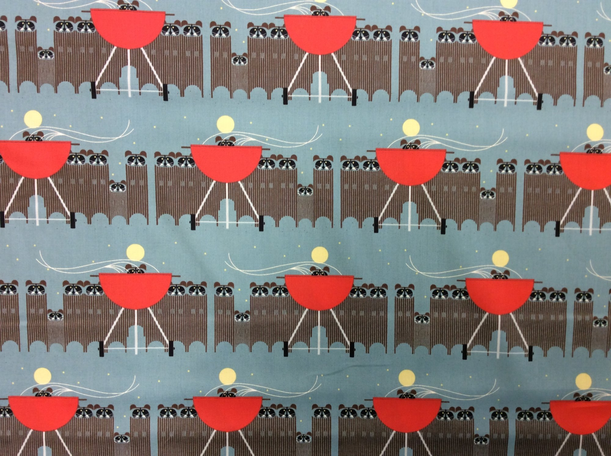Charley Harper Cats and Raccs Big Racc Attack Raccoon Organic Cotton Quilt Fabric CHB122