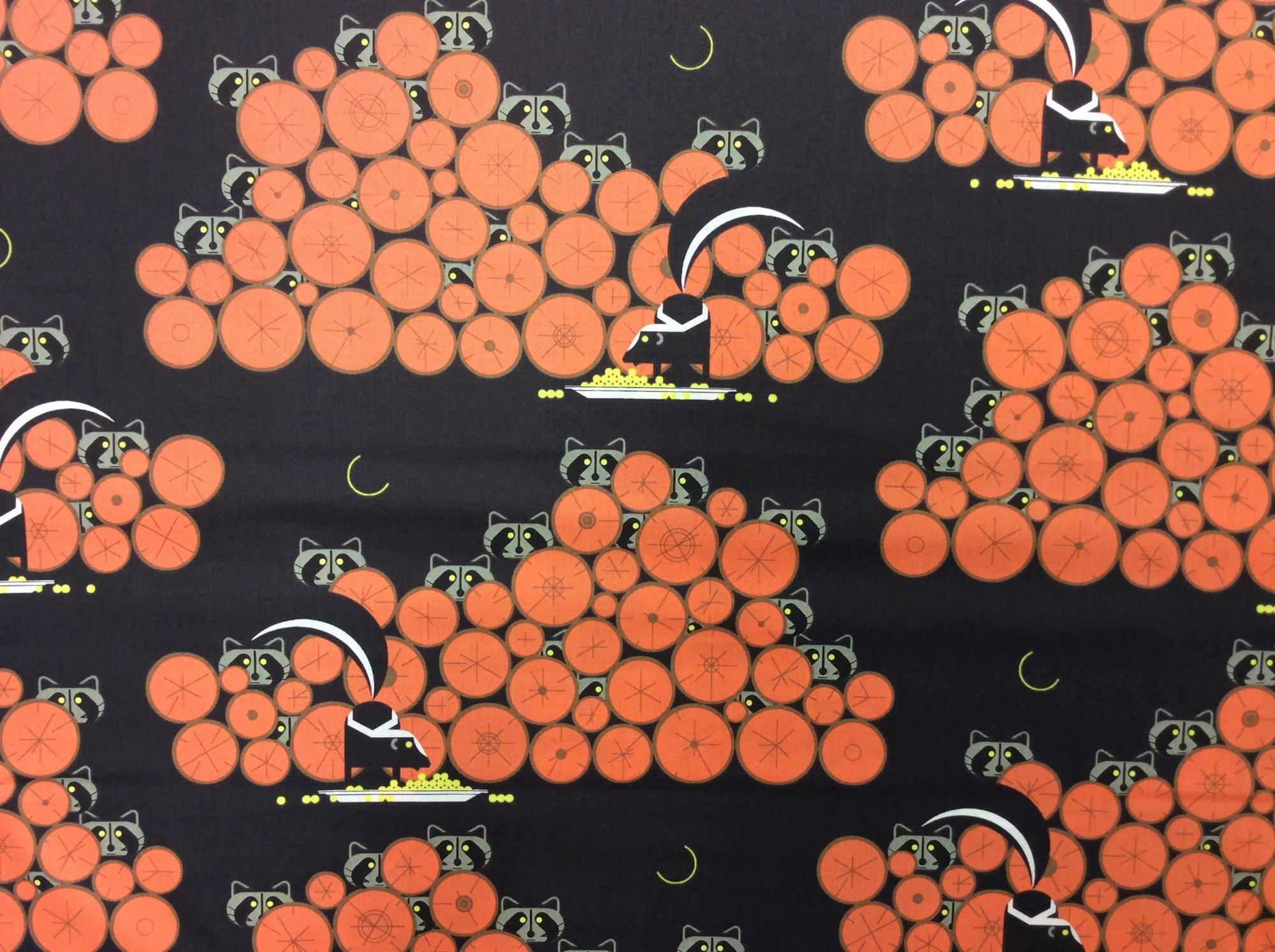 Charley Harper Cats and Raccs Raccoonaissance RaccoonOrganic Cotton Quilt Fabric CHB123
