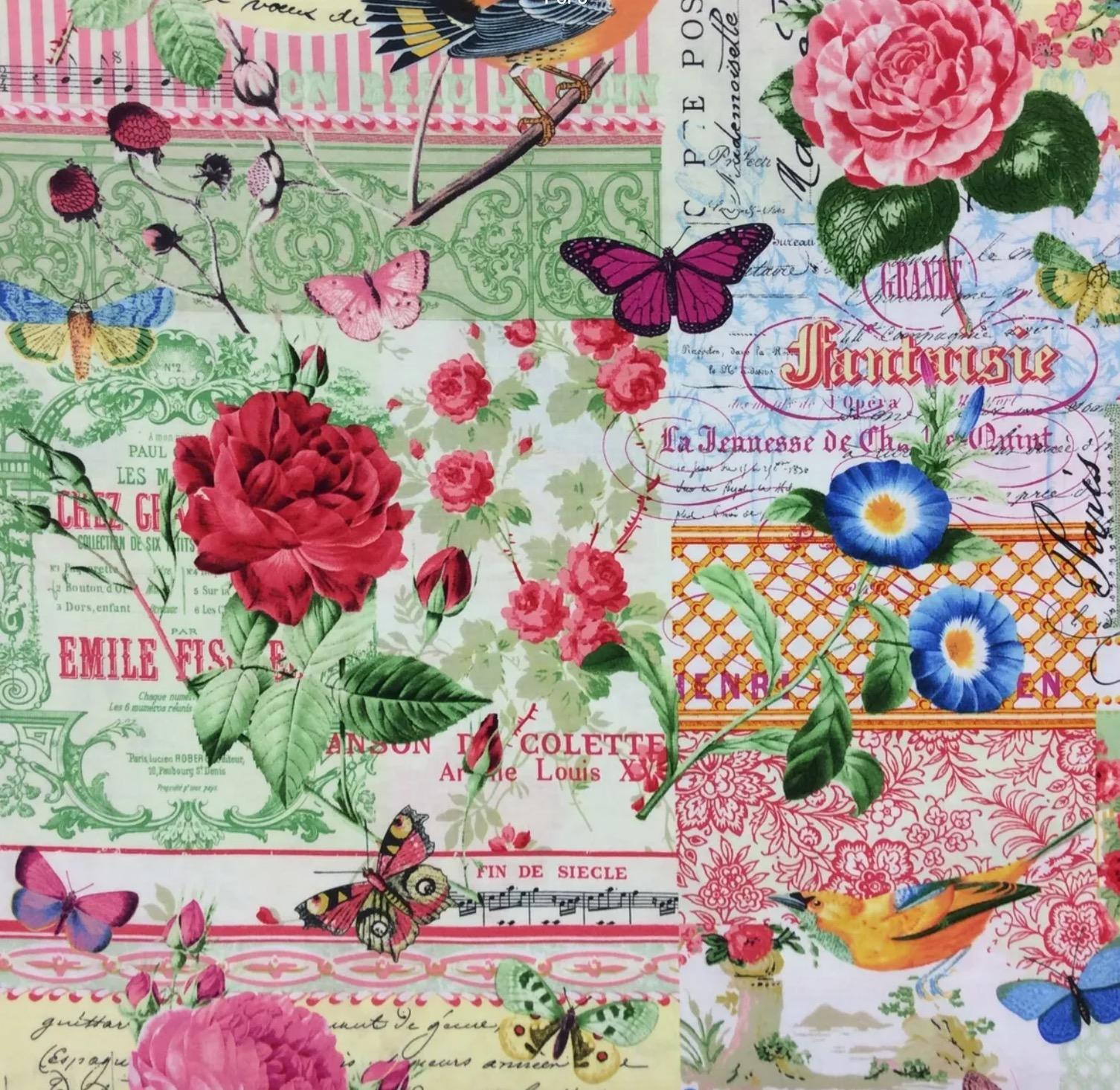 French Rose Script Bird Butterfly Garden Courtyard Cotton Quilt Fabric MM116