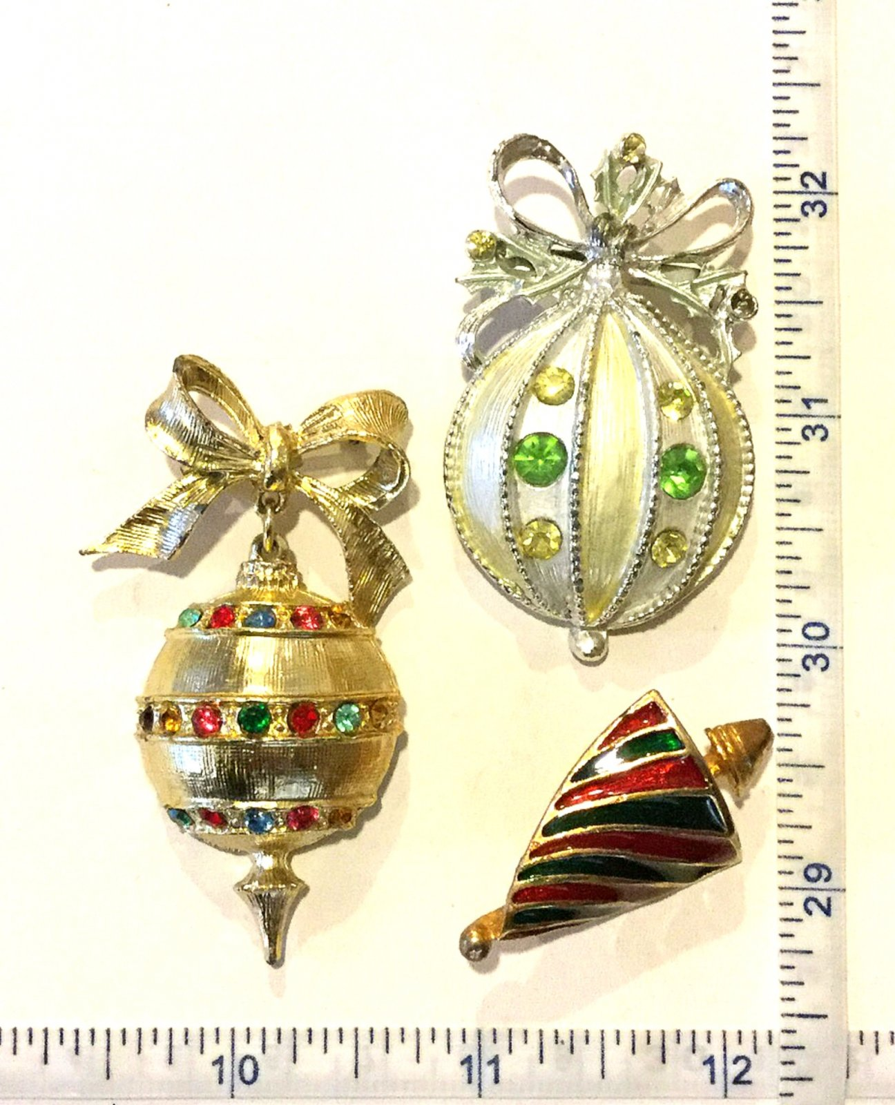 Christmas Ornaments THREE Vintage Rhinestone And Enamel Costume Jewelry Pins