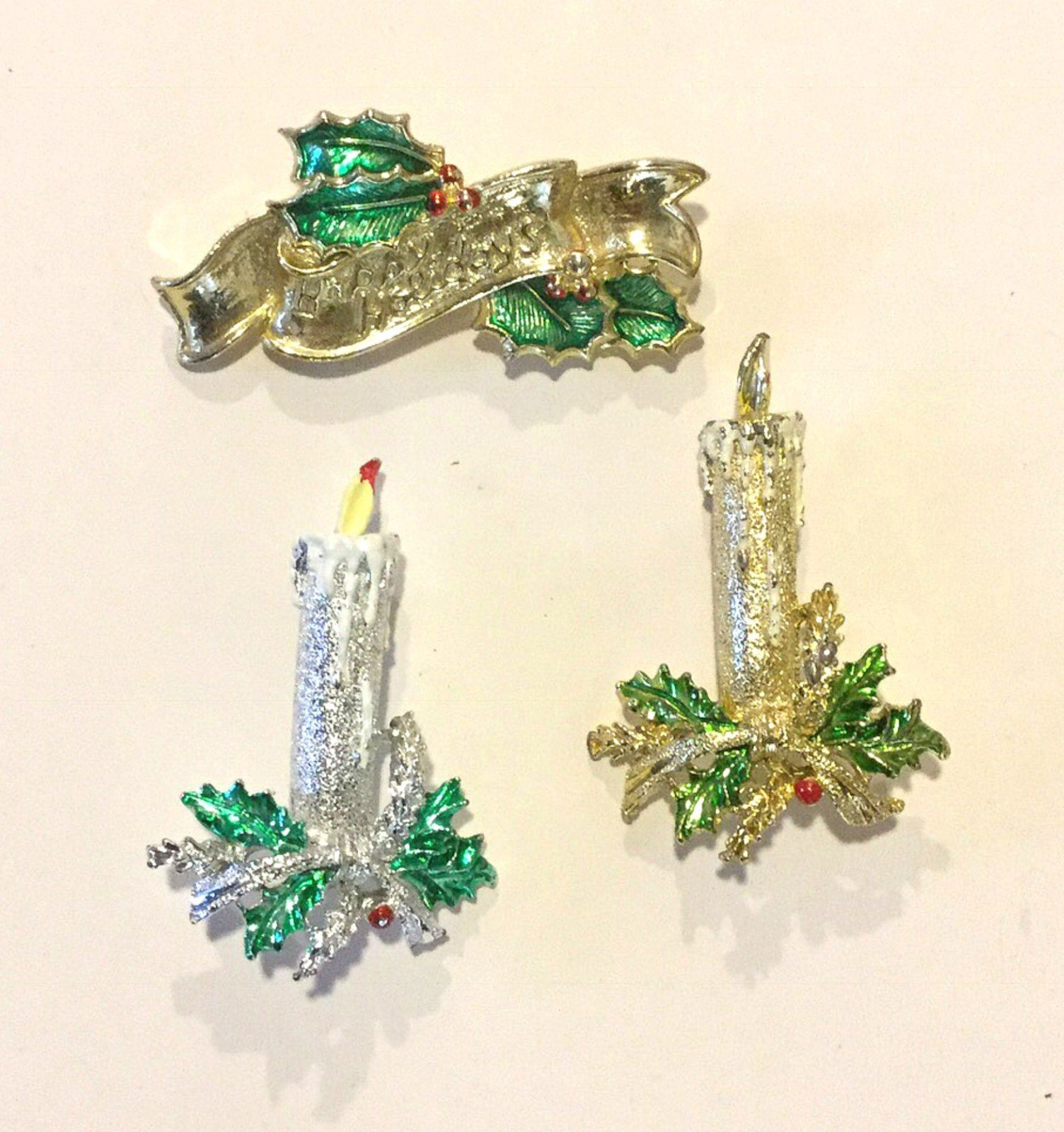 Christmas Candles Happy Holidays THREE Vintage Enamel Rhinestone Costume Jewelry Pins