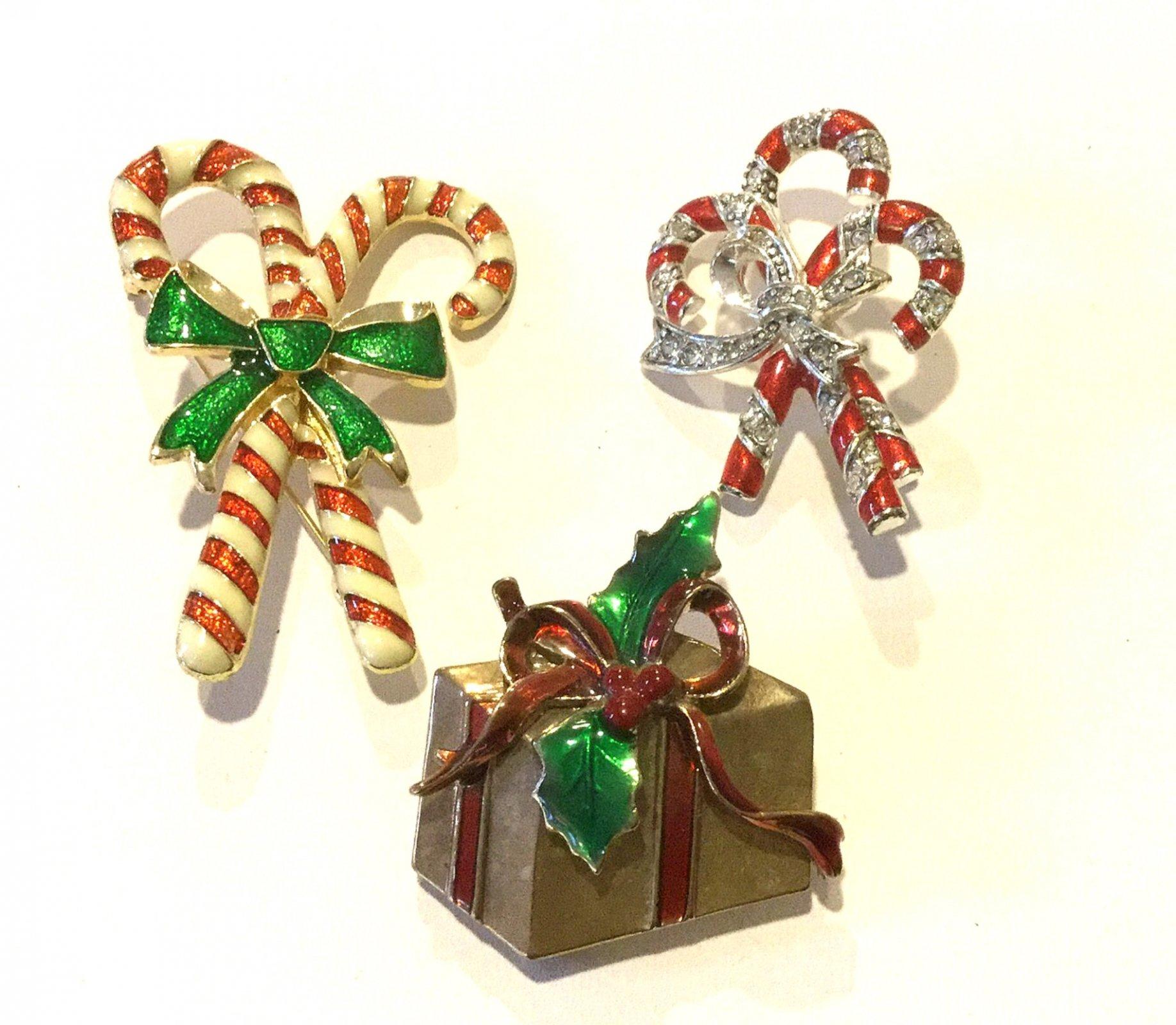 Christmas Candy Canes Gift THREE Vintage Rhinestone Enamel Costume Jewelry Pins
