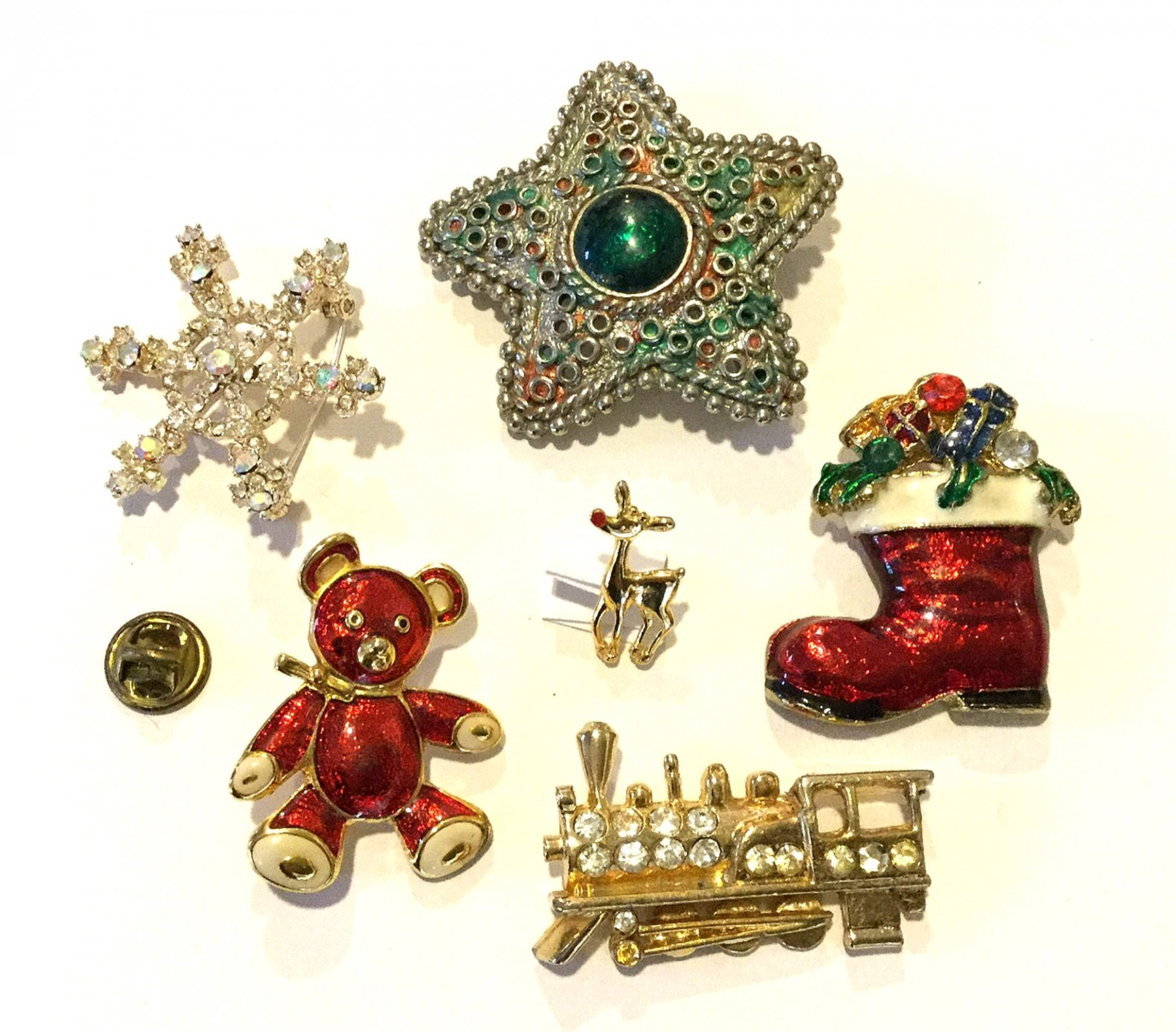 Christmas Stocking Toys Train Boot Bear Rudolph SIX Vintage Enamel Rhinestone Costume Jewelry Pins