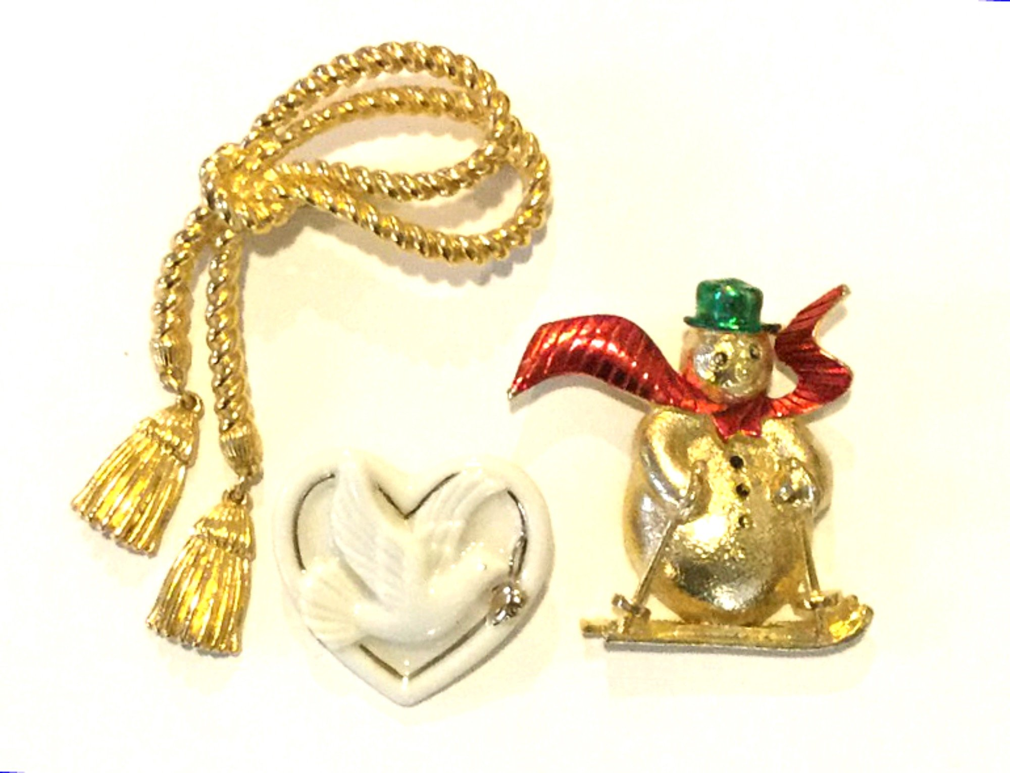 Christmas Snowman Tassels Lenox Heart THREE Vintage Enamel Porcelain and Goldtone Costume Jewelry Pins