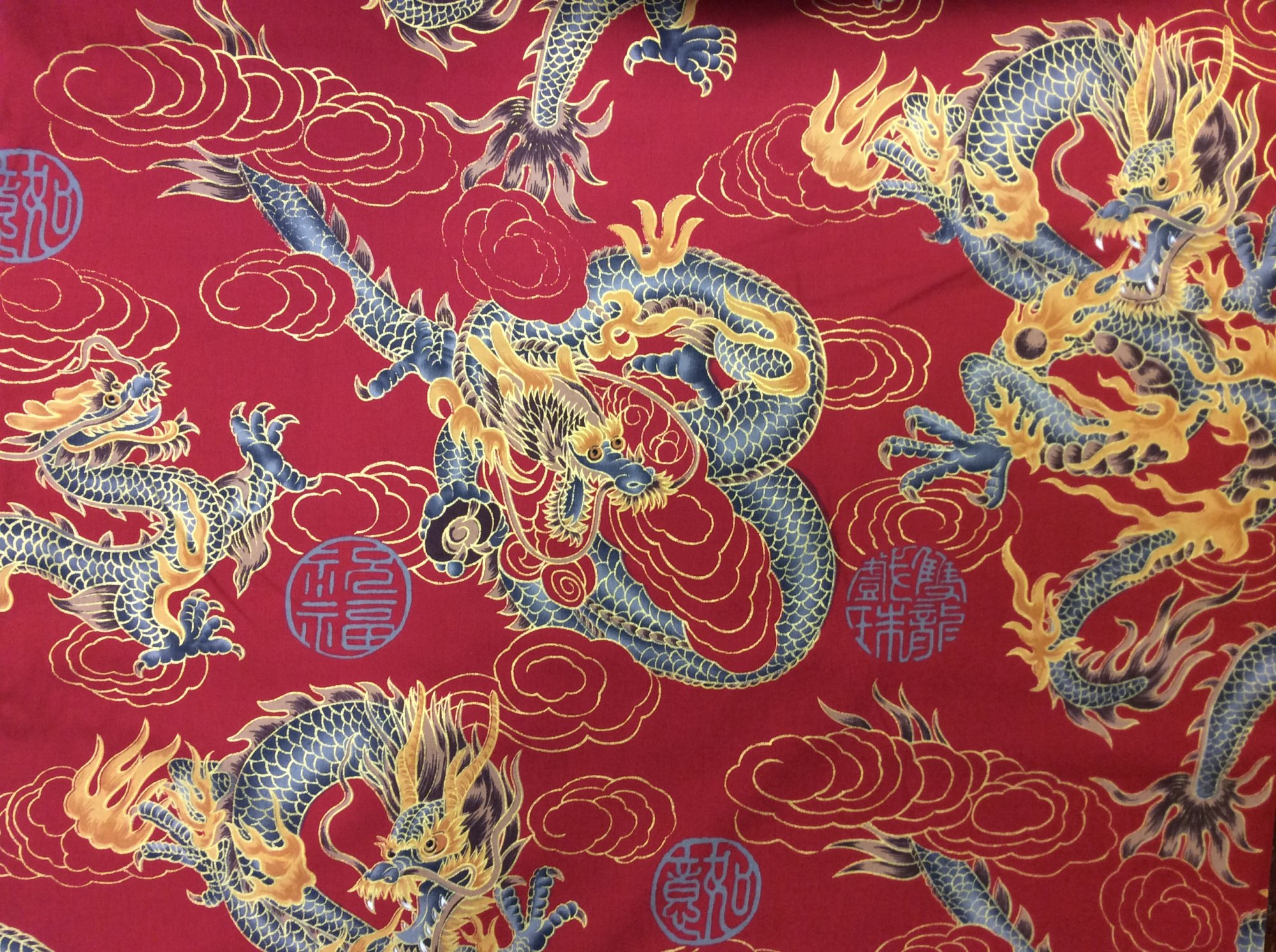 Asian Exotic Dragon Fire Cloud Japan Cloud Japanese Asian Red Cotton Quilt Fabric TP044