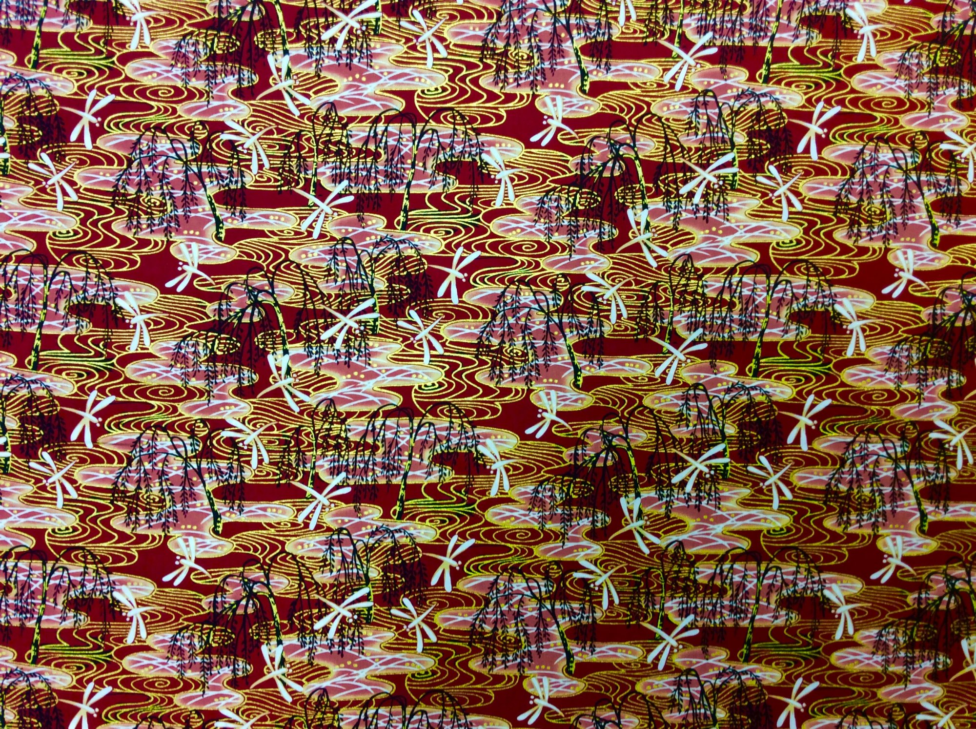 Asian Exotic Dragonfly Bonsai Red Gold Japan Asian Cotton Quilt Fabric TP052