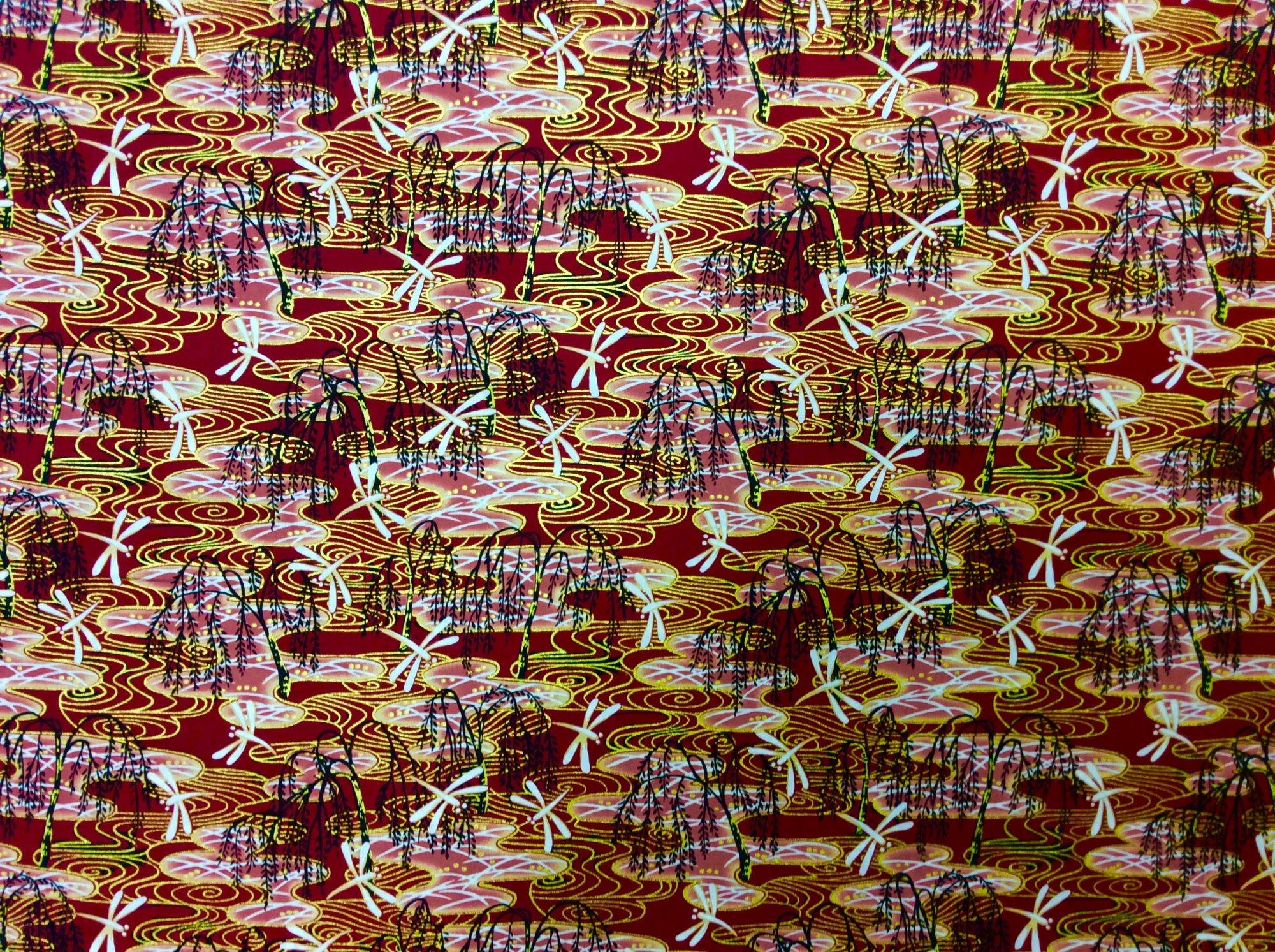 Asian Exotic Dragonfly Bonsai Blue Gold Japan Asian Cotton Quilt Fabric TP052