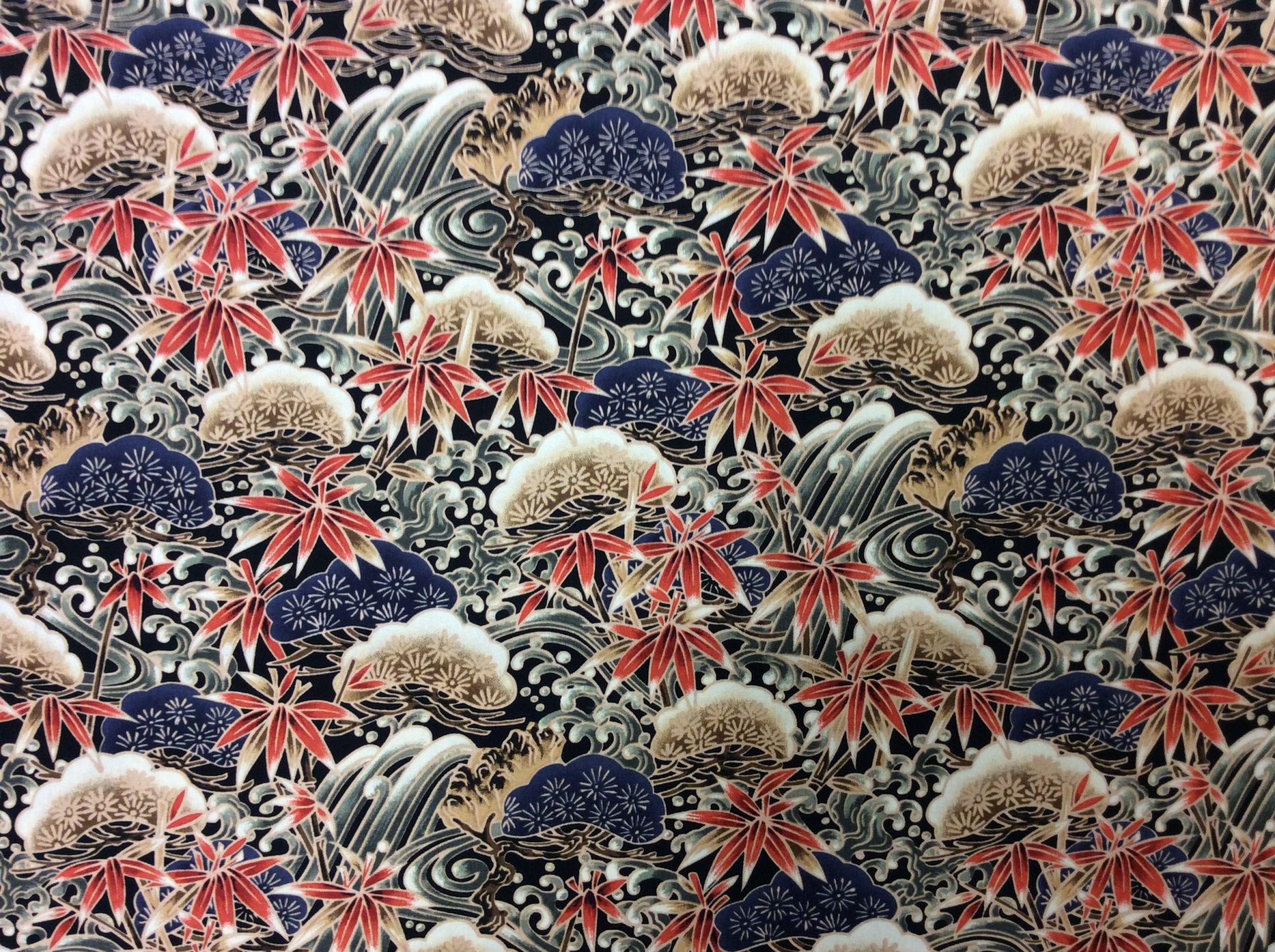 Asian Exotic Wave Bonsai Black Gold Japan Asian Cotton Quilt Fabric TP057