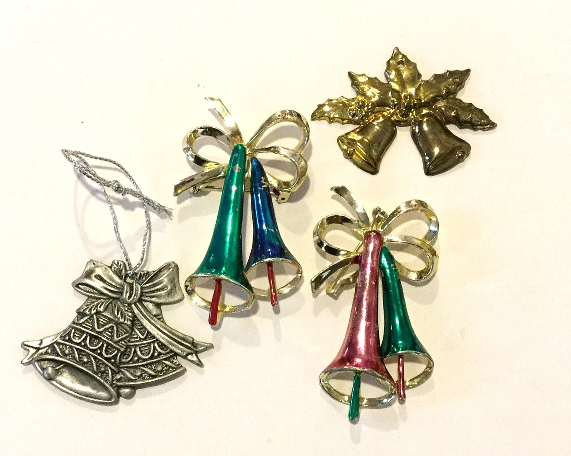 Christmas Bells FOUR Vintage Costume Jewelry Pins Ornament and Charm