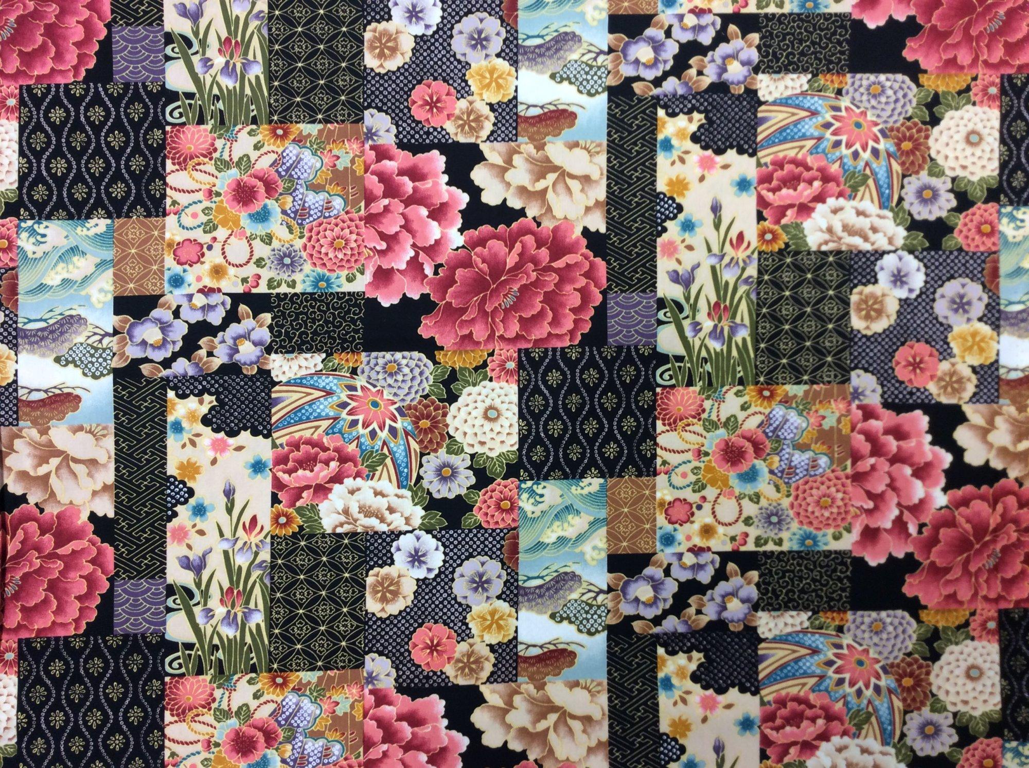 Asian Exotic Floral Patchwork Multicolor Gold Japan Asian Cotton Quilt Fabric TP05