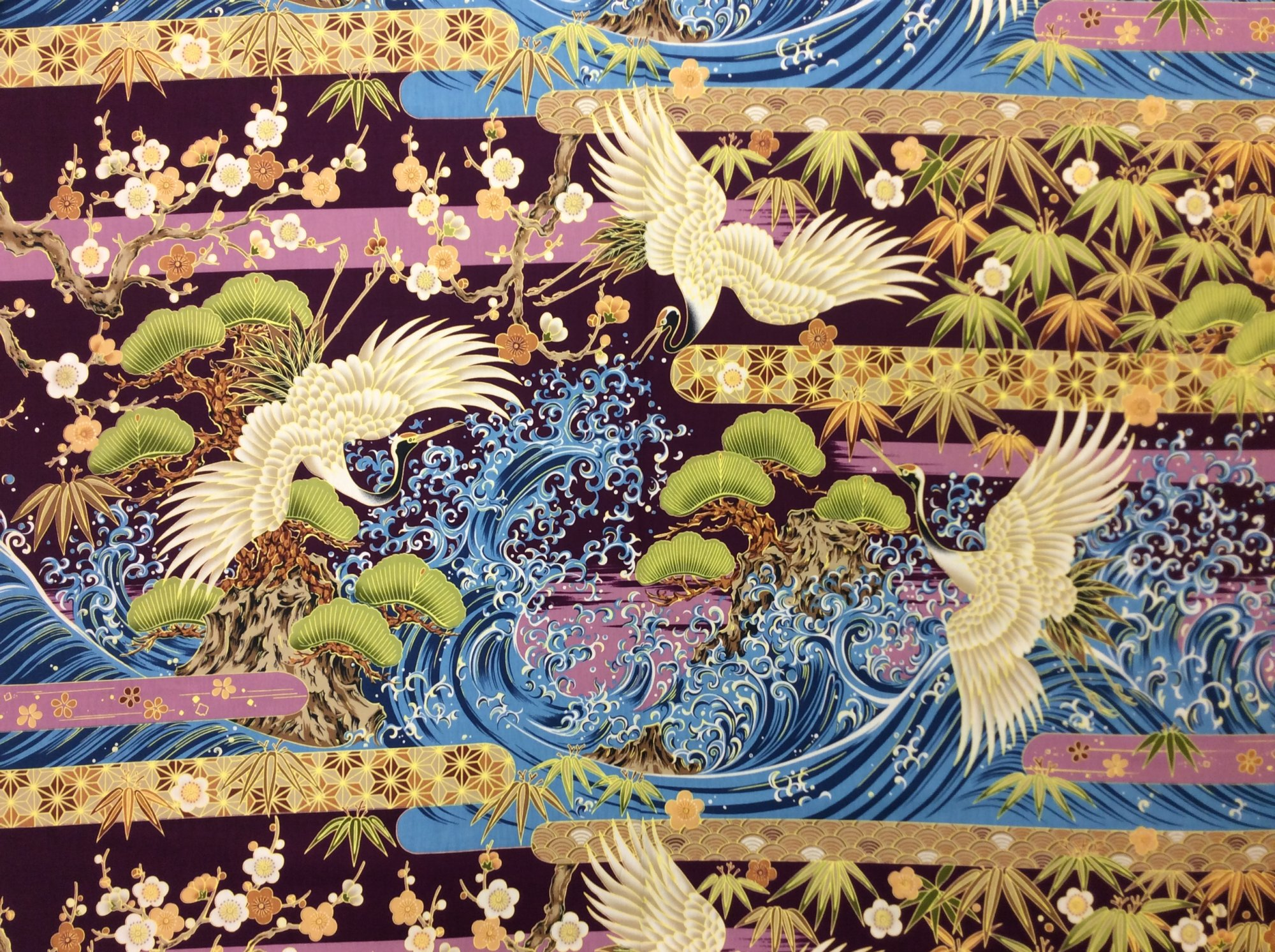 Asian Exotic Crane Wave Japan Asian Cotton Quilt Fabric TP060 Sold by the Panel
