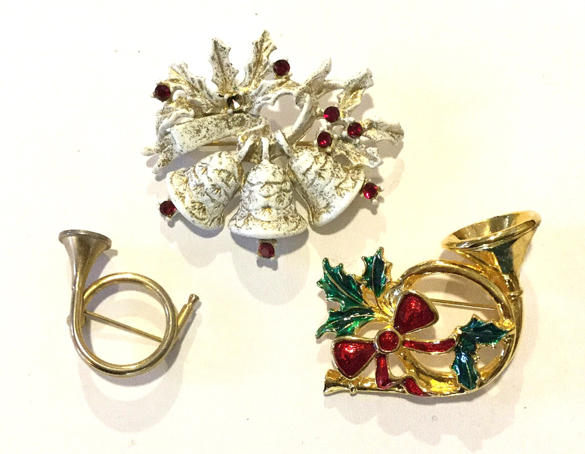 Christmas Bells Trumpet Horns THREE Vintage Rhinestone Enamel Costume Jewelry Pins