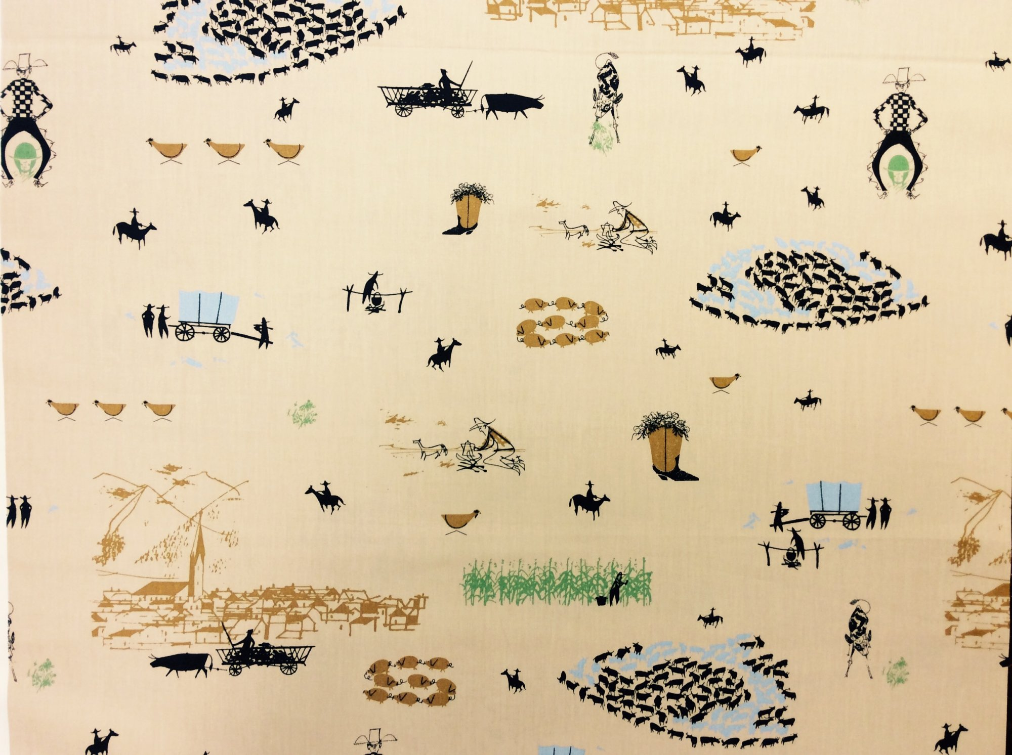 Charley Harper Organic Cotton New Frontier Cowboy Pastoral Farm Wild West Cattle Cow Quilting Fabric CHB126