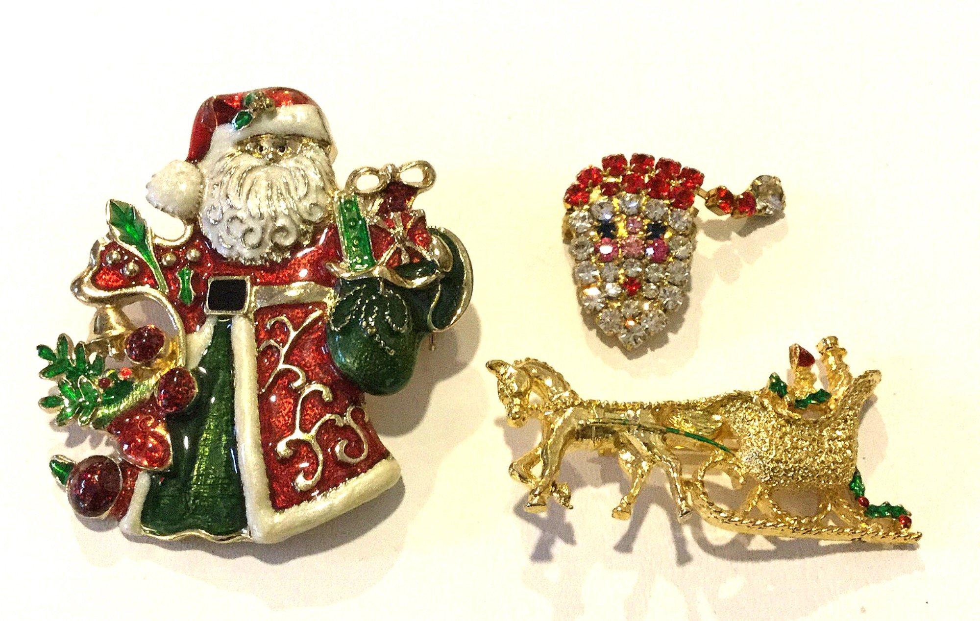 Christmas Santa Claus Horse Drawn Sleigh THREE Vintage Rhinestone Enamel Costume Jewelry Pins