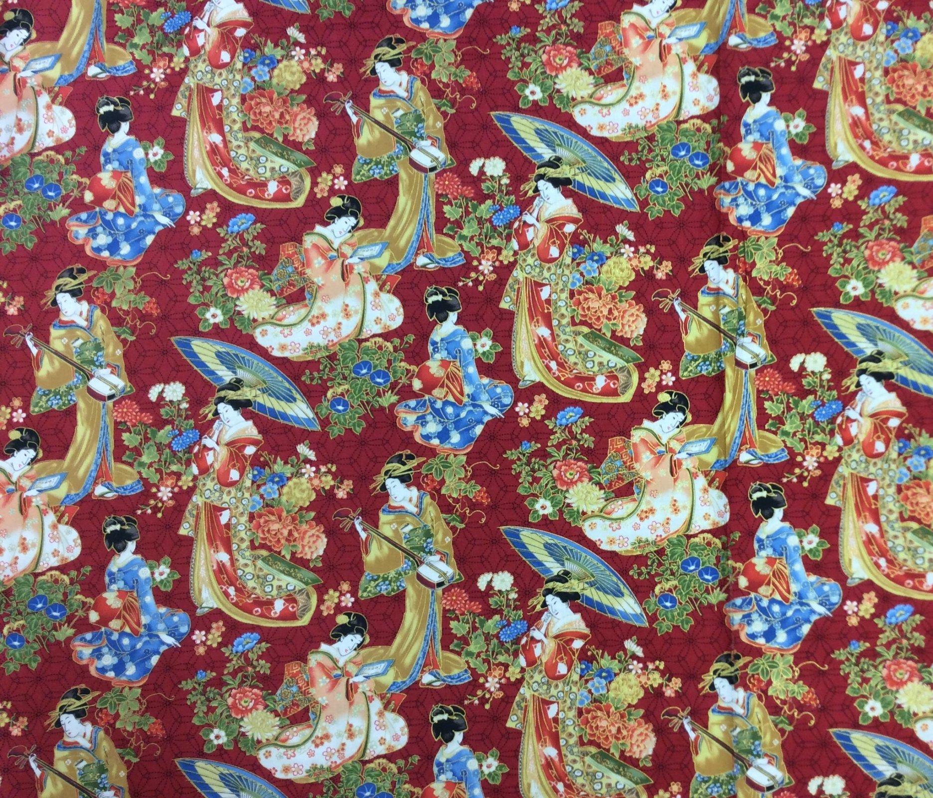 FAT QUARTER! Japanese Geisha Garden Kimono Fan Asia Japan Cotton Fabric Quilting Fabric RPFNC27