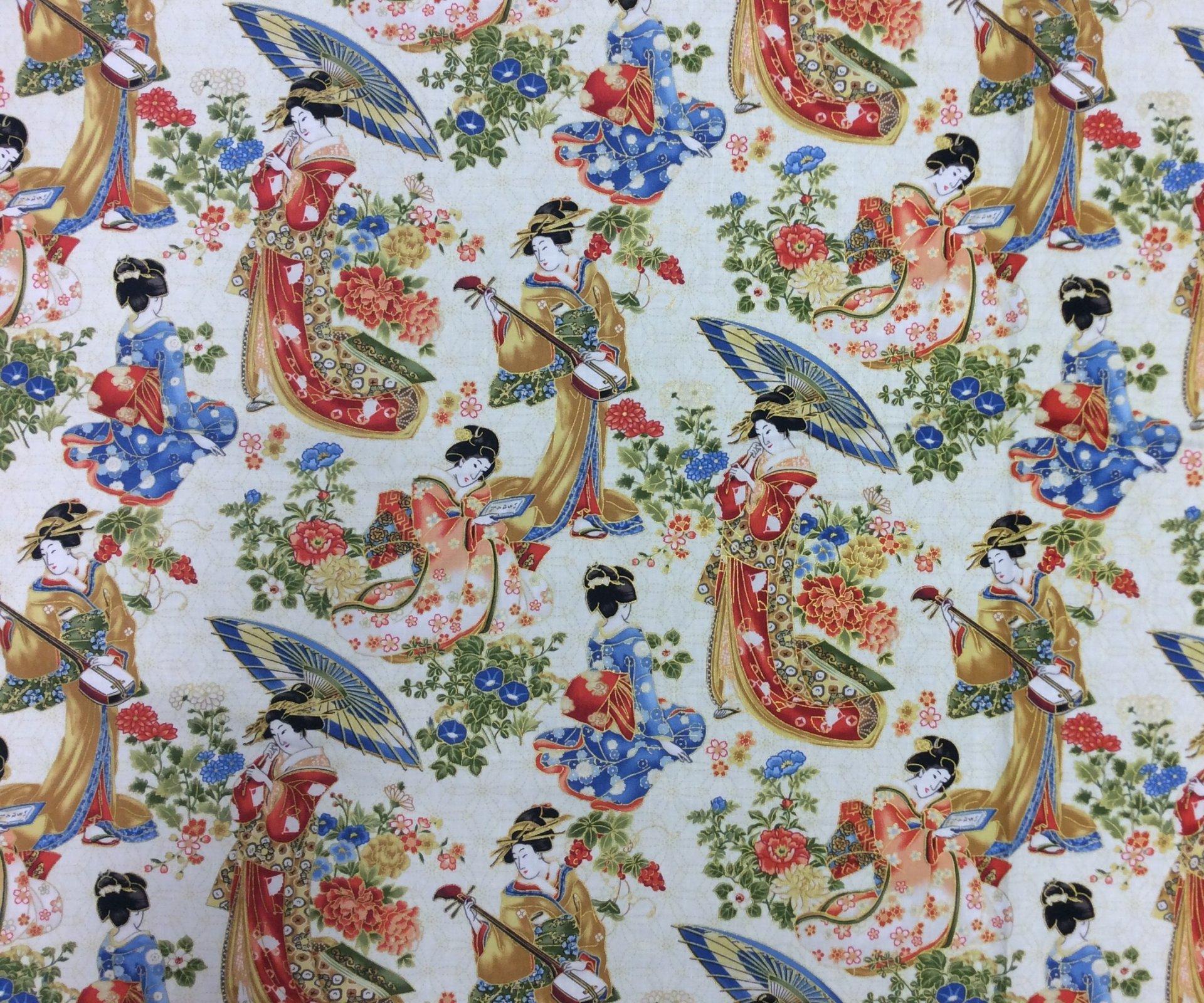 Japanese Geisha Garden Kimono Fan Asia Japan Cotton Fabric Quilting Fabric NC26
