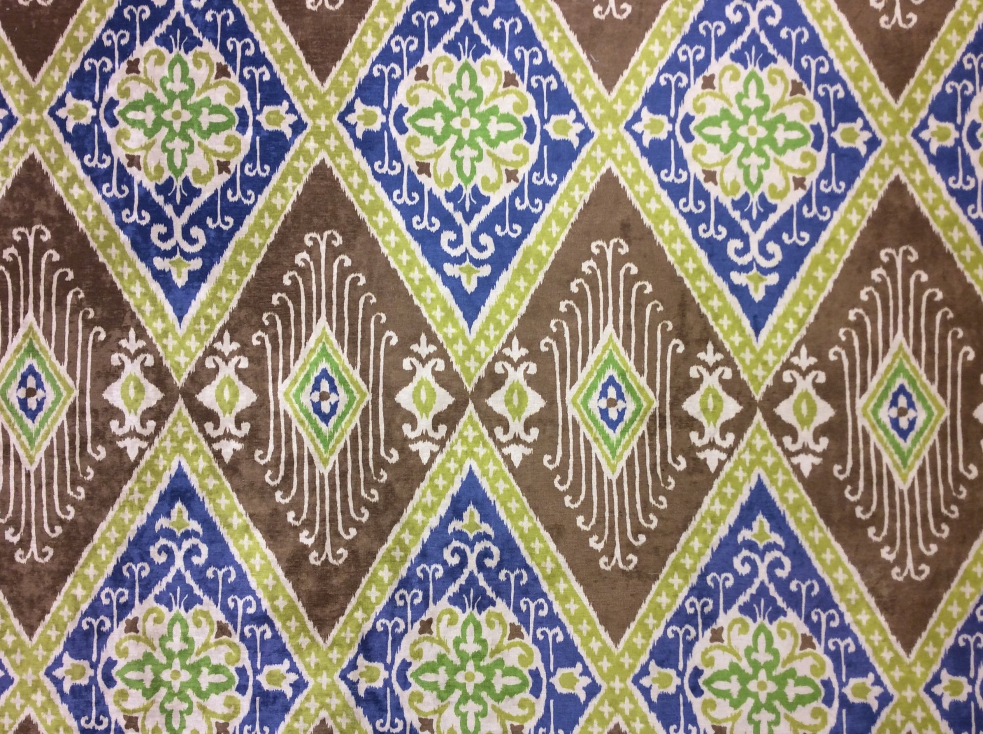 Iman Ikat Diamond Printed Velvet By the Yard Upholstery Home Decor Fabric OR114