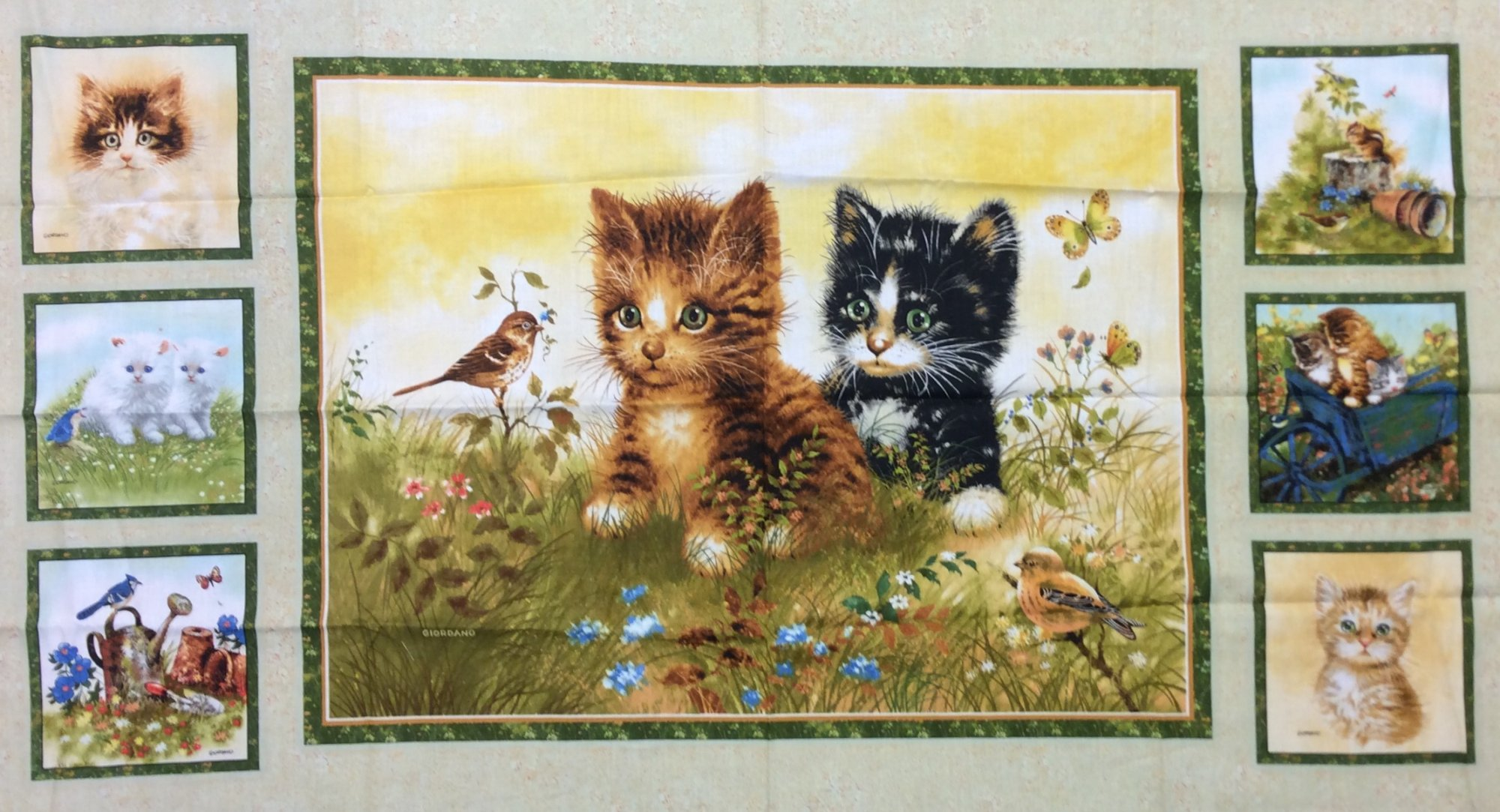 Kitten Cat Kitty Retro Forest Creatures Squirrel Farm Butterfly Landscape Panel Cotton Fabric Quilt Fabric AB0114