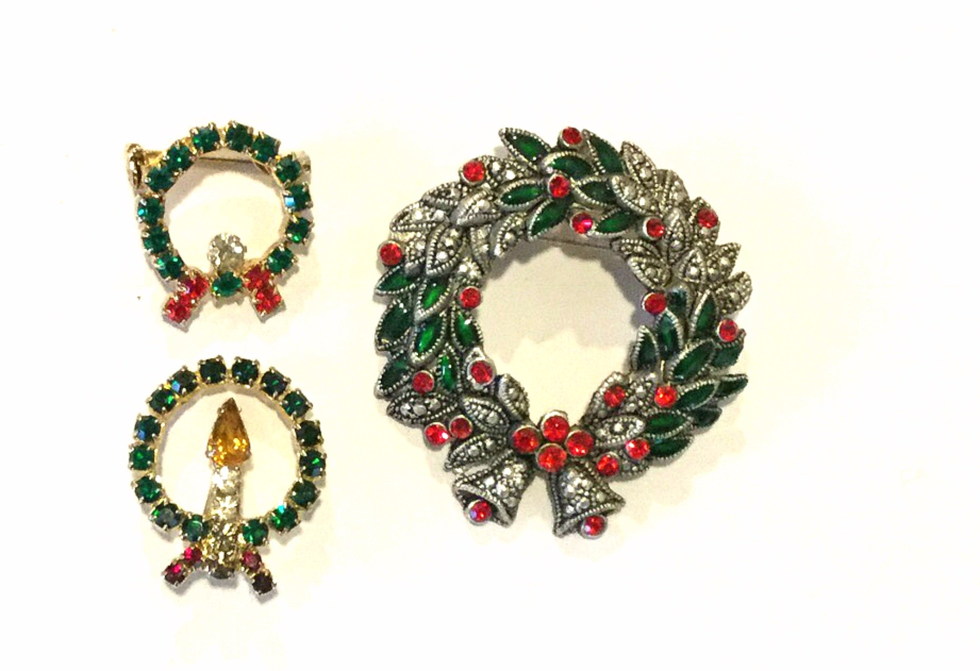 Christmas Wreaths Candles THREE Vintage Rhinestone Enamel Costume Jewelry Pins