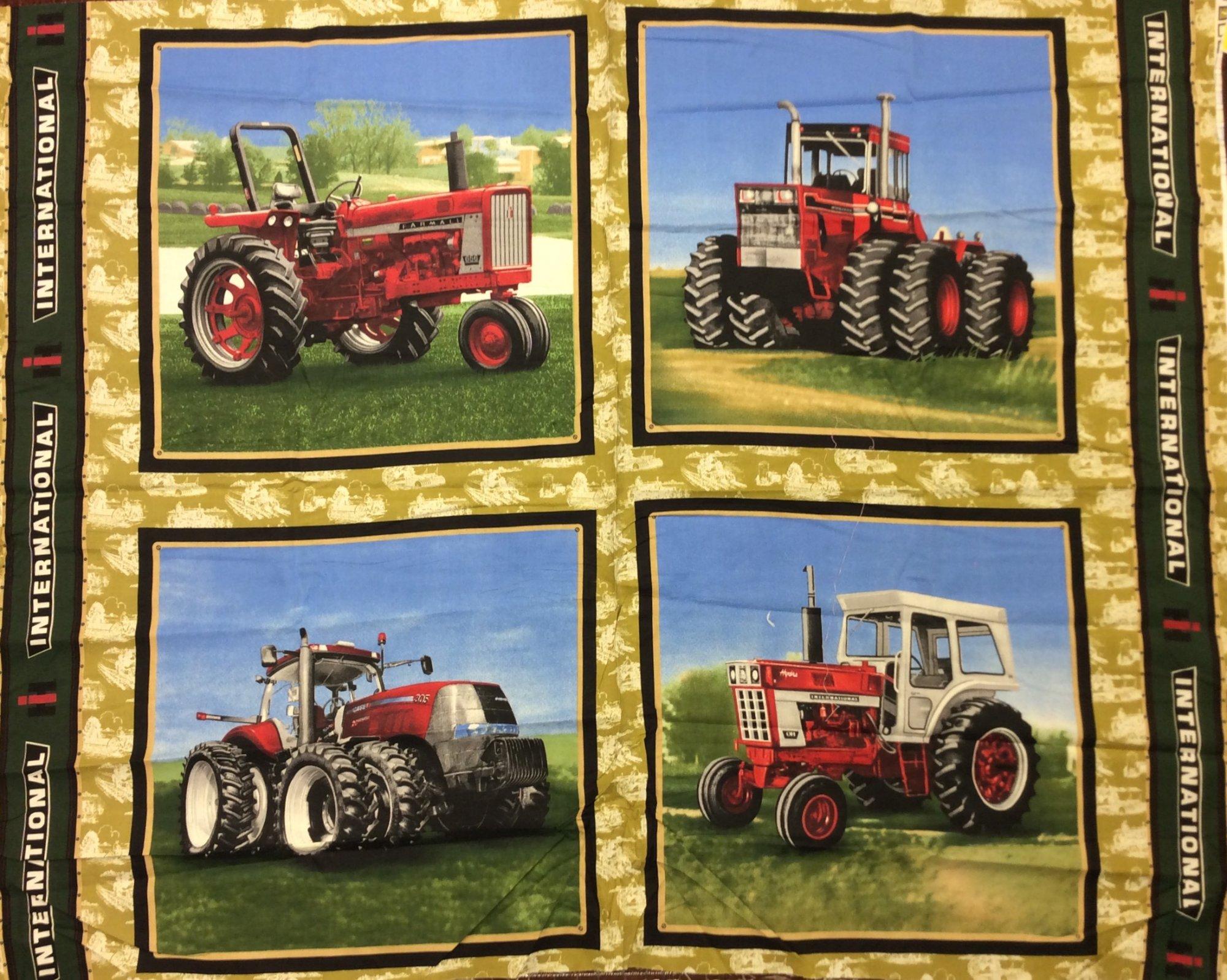 International Harvester Tractor Combine Farm Cub Cadet Farmall Panel Cotton Quilting Quilt fabric FF117