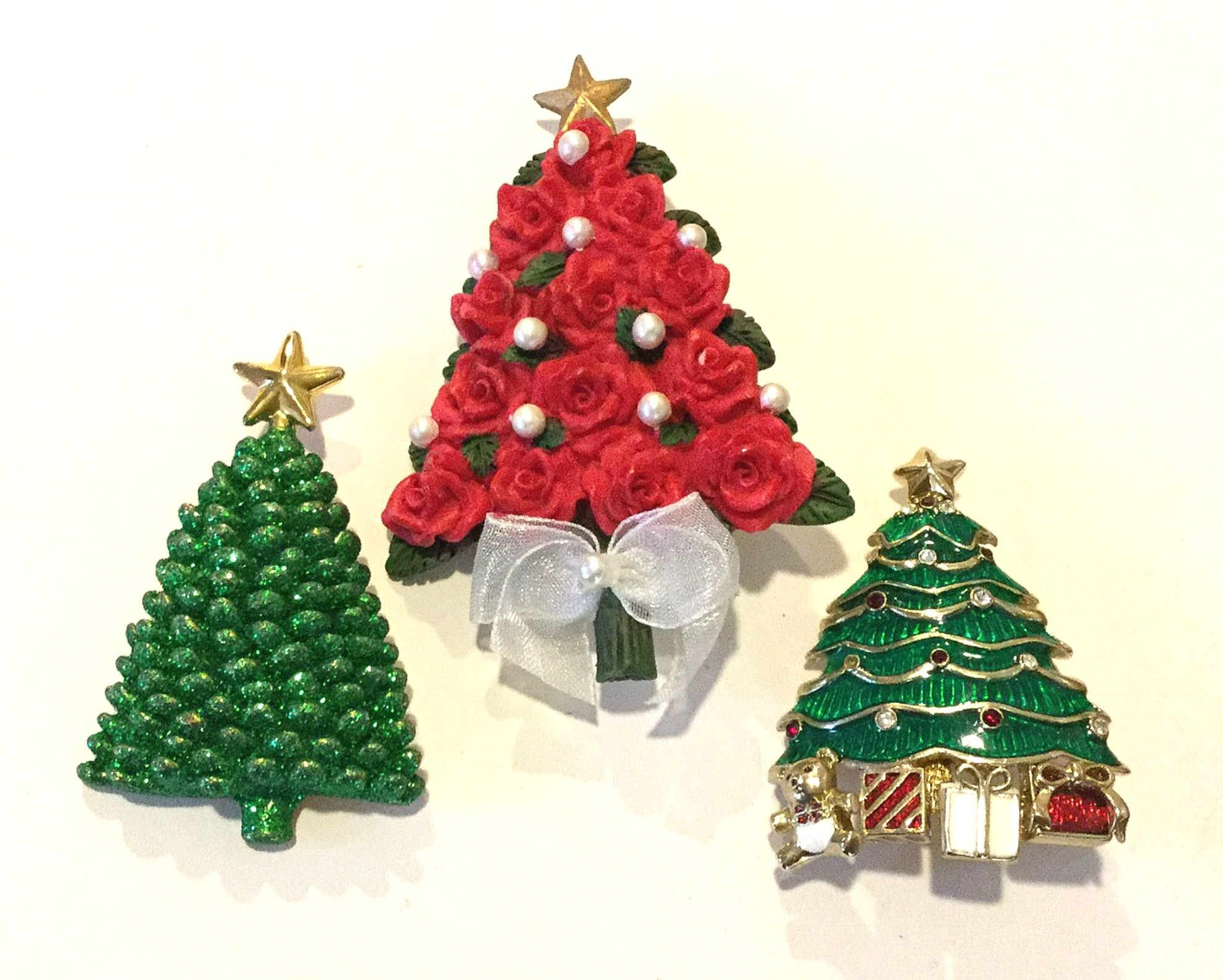 Christmas Trees THREE Vintage Rhinestone Enamel Costume Jewelry Pins