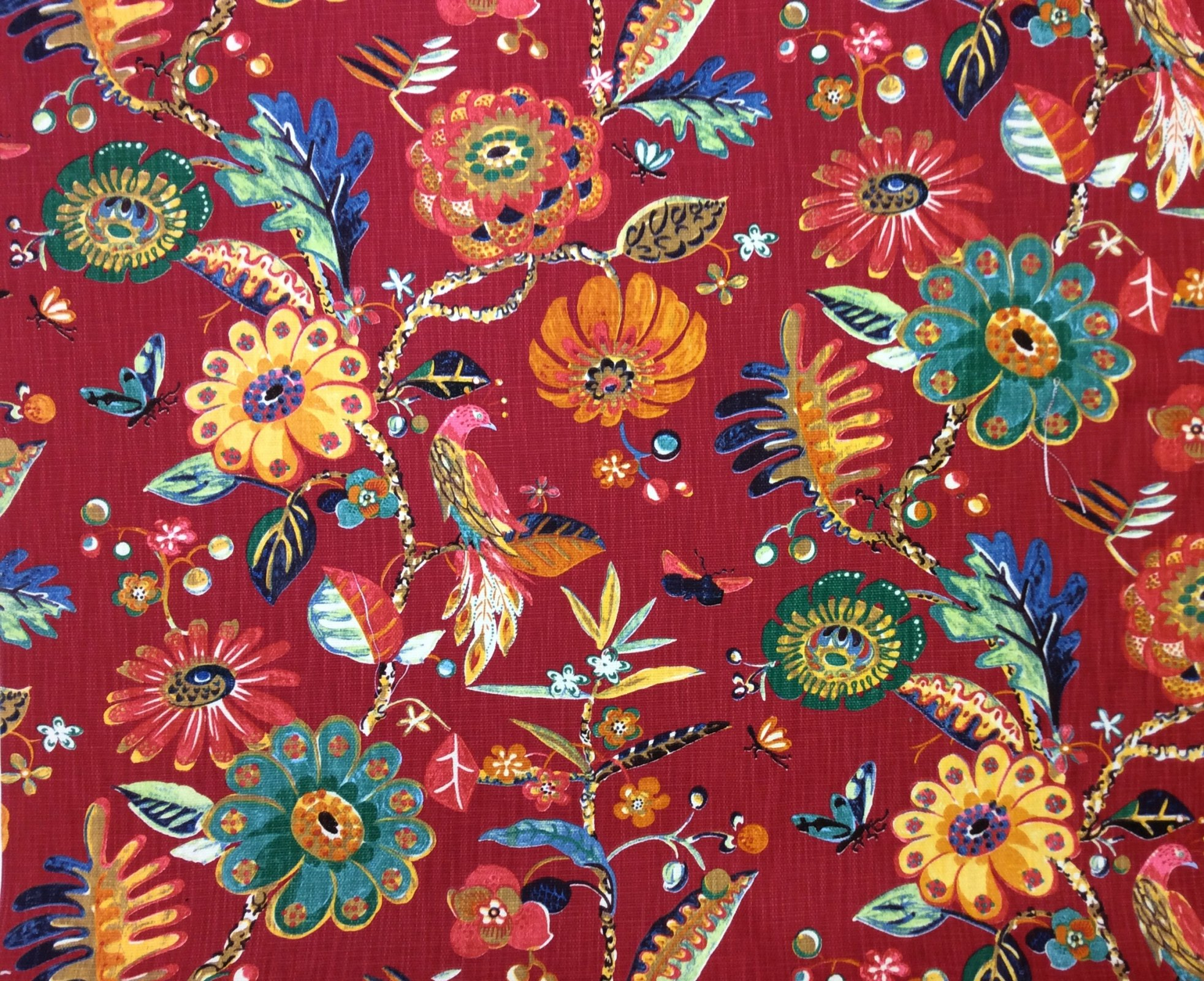 Beautiful Watercolor Modern Floral Peacock Butterfly Upholstery Home Decor Heavy Cotton Slubby Fabric OR140