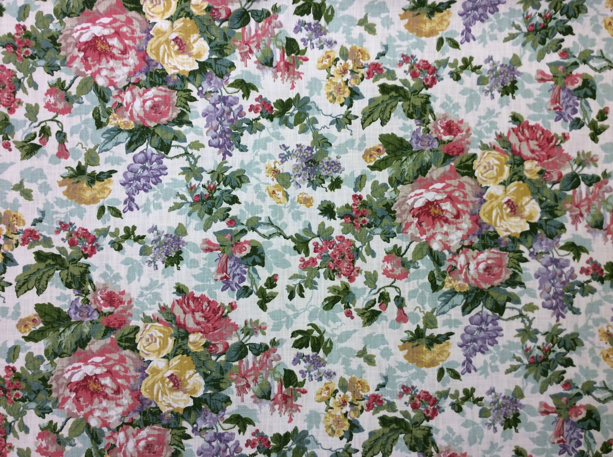Shabby Chic French Country Cabbage Rose Floral Heavy Cotton Printed Home Decor Upholstery Fabric OR142