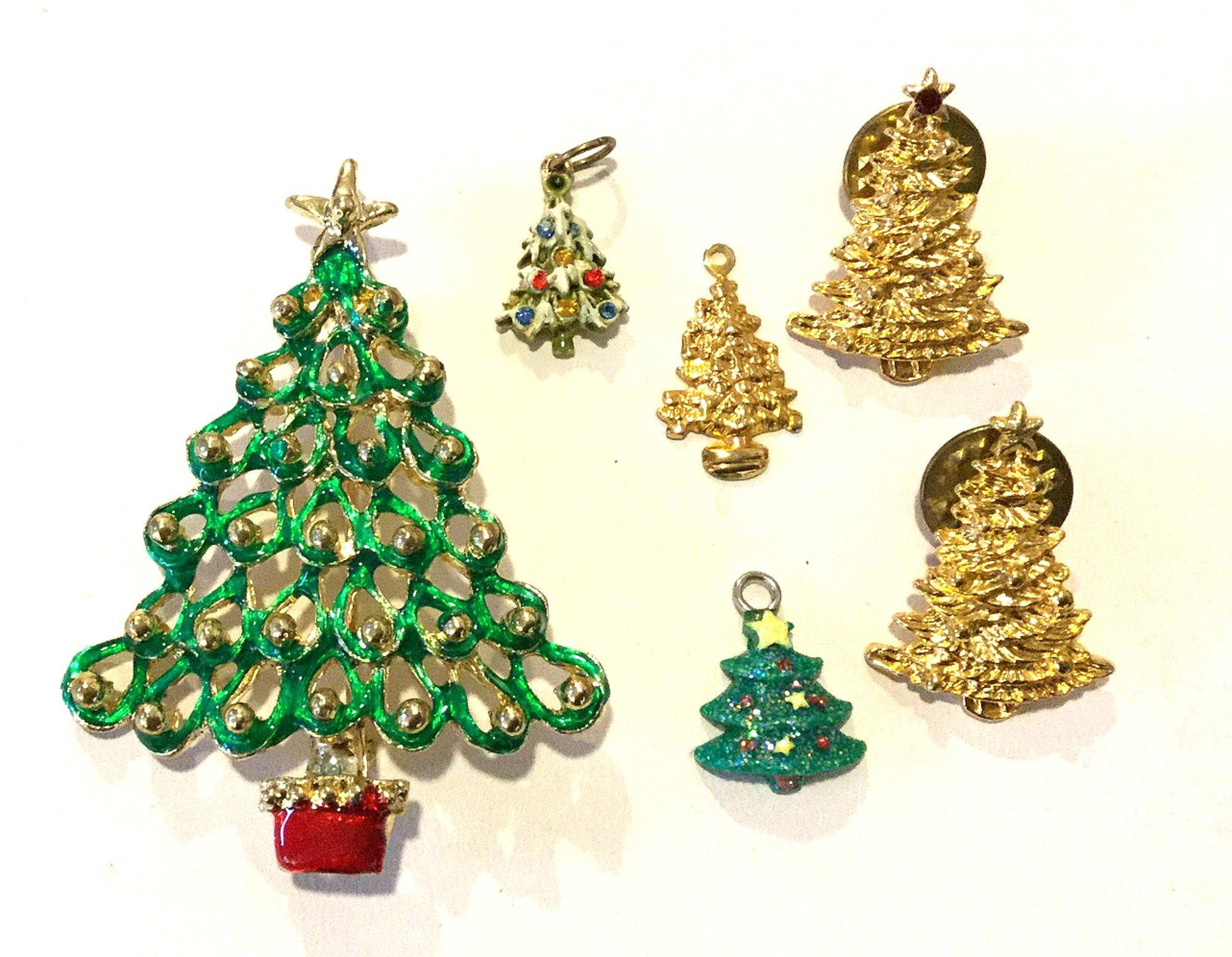 Christmas Trees SIX Vintage Rhinestone Enamel Costume Jewelry Pins and Charm Pendants