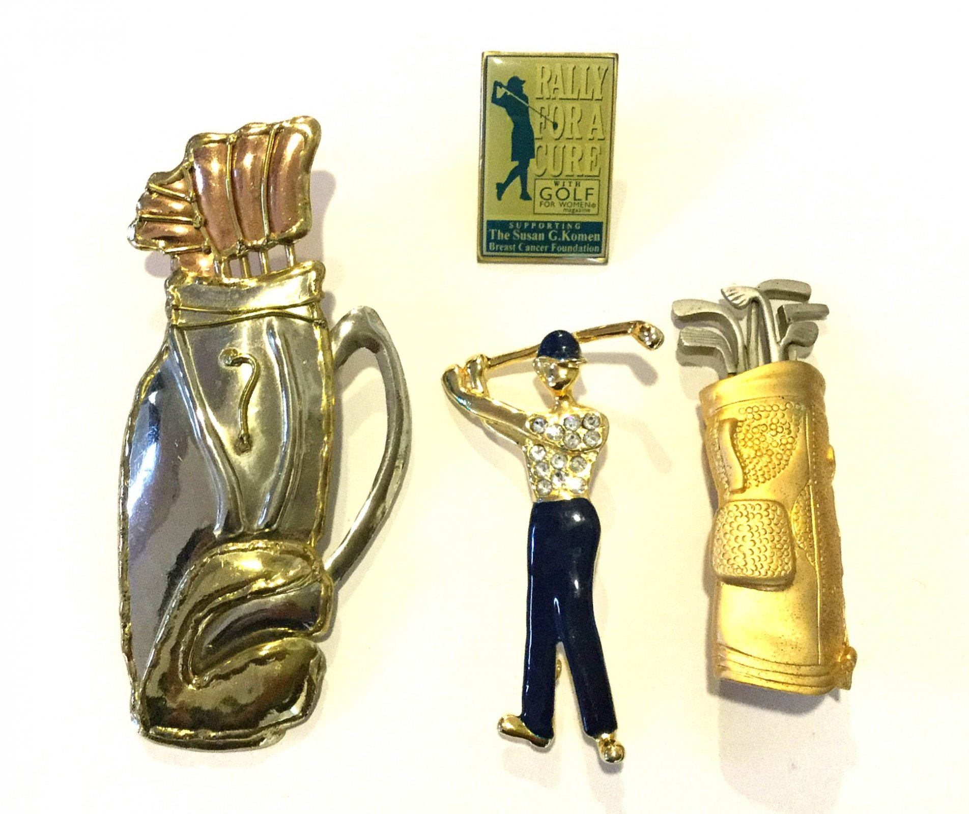 Set of Four Golfing Golf Clubs Vintage Rhinestone Enamel Wiggling Golf Clubs Costume Jewelry Pins
