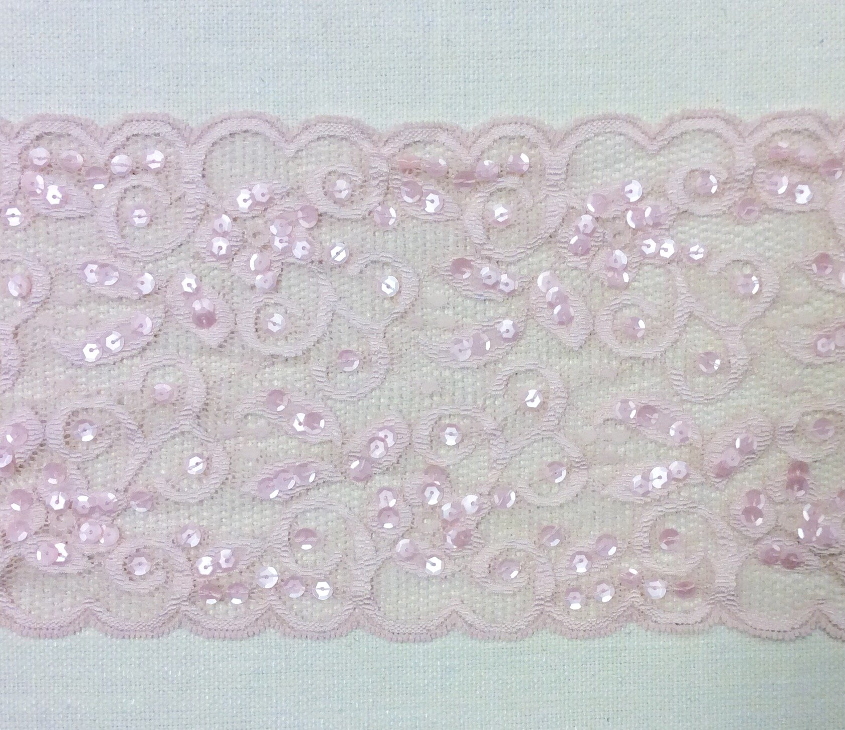 Pink Sequin Stretch Lace Ribbon Apparel Sewing Trim RM79