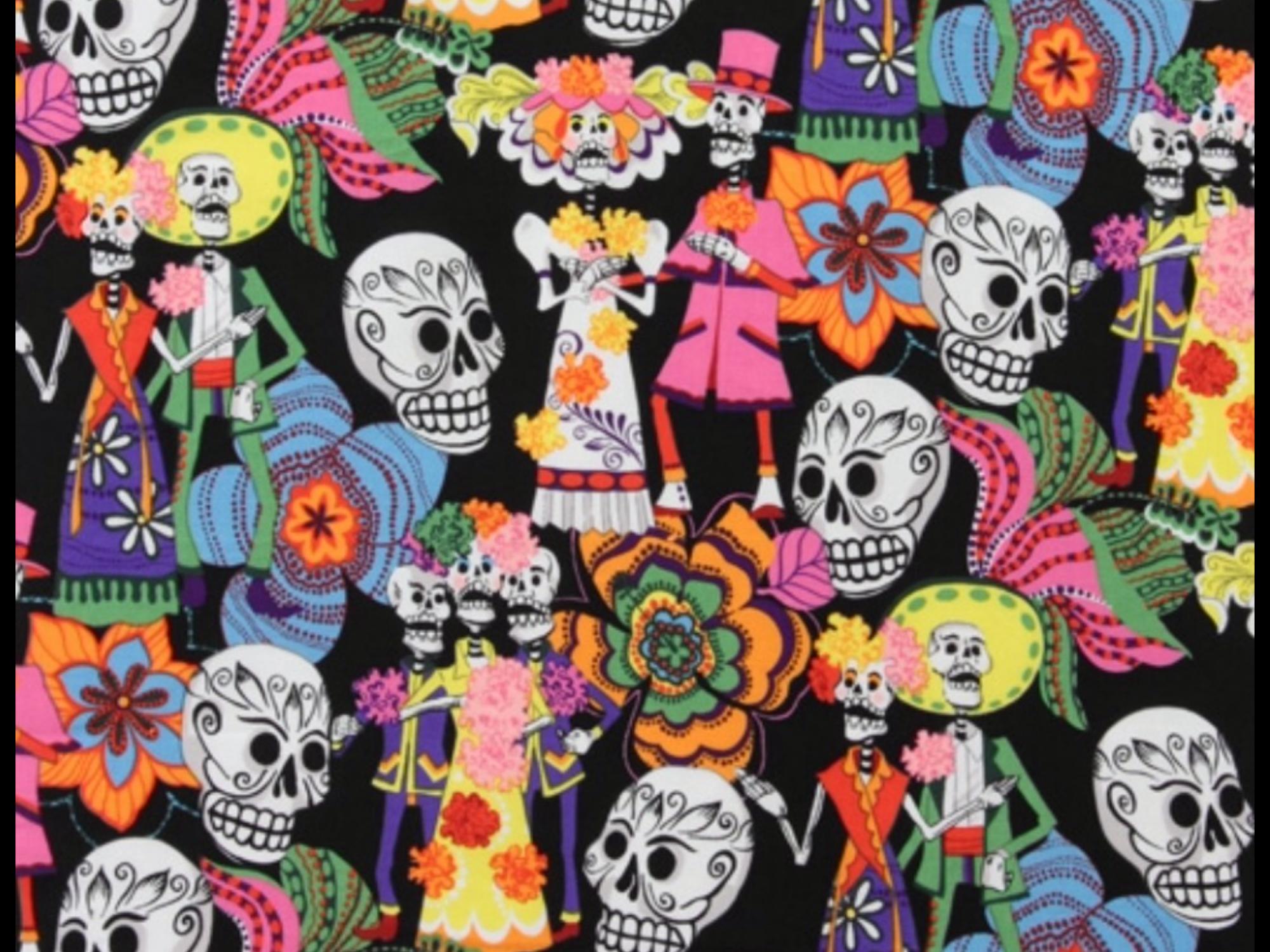 Los Novios Day Of The Dead Wedding Black Background Mexico Bride Groom Cotton Quilt Fabric AH248