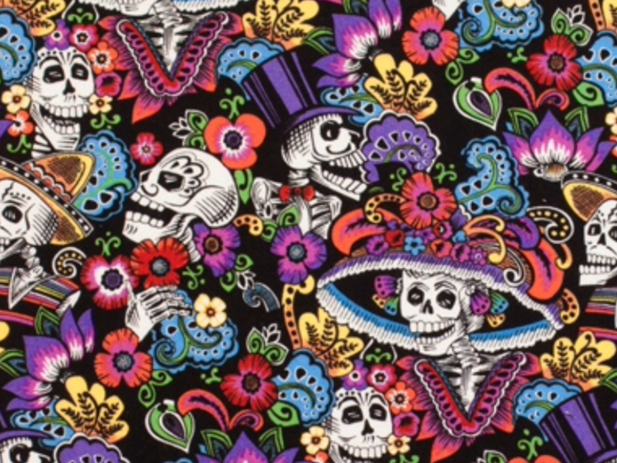 Catrina Chiquita Dia de los Muertos Posada Day of the Dead Skeleton Alexander Henry Cotton Quilt Fabric AH217