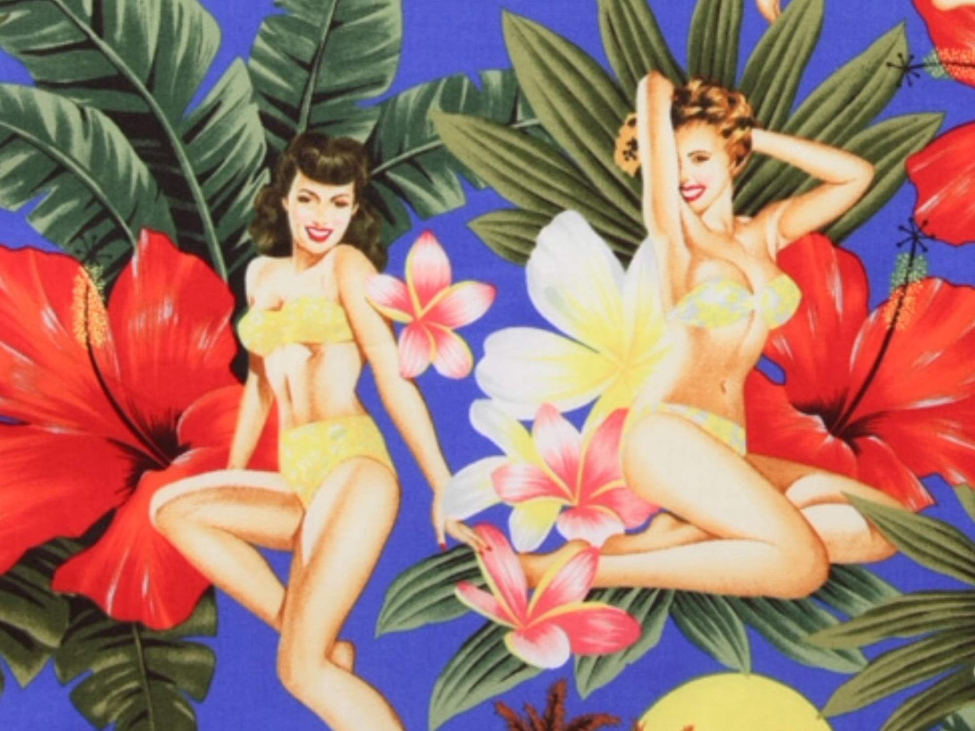 COMING SOON! Sexy Pin Up Girls Island Girls Retro Hawaii Hula Luau Tiki Bar Alexander Henry Cotton Quilt Fabric