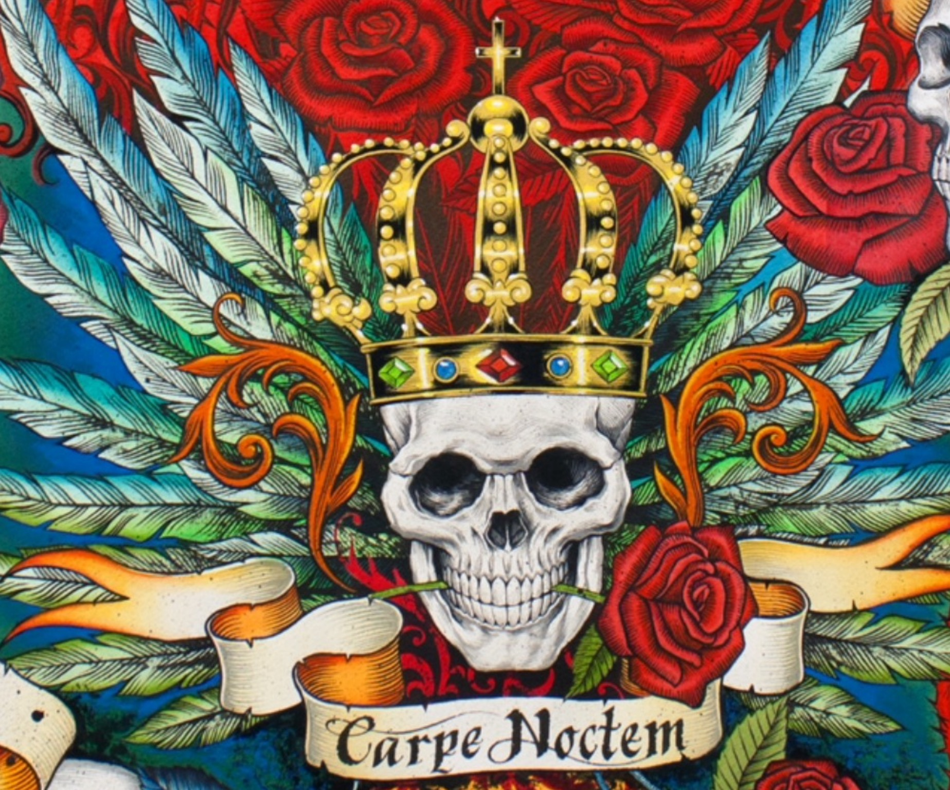 Skull Crown Carpe Noctem Royal King Alexander Henry Cotton Quilt Fabric AH223