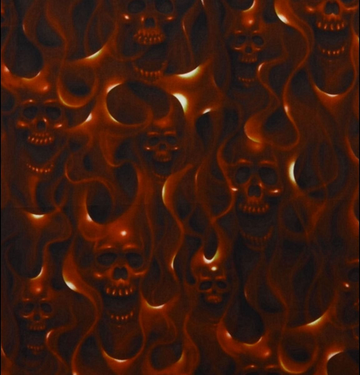 Skull Fire Flame Air Brush Biker Goth Out Cotton Quilting