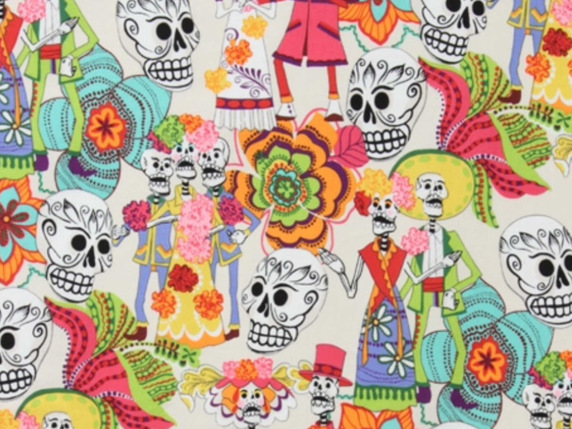 COMING SOON! Los Novios Skulls and Skeletons Day of the Dead Dia de los Muertos Wedding Posada Mexico Bride and Groom Cotton fabric Quilt fabric 551