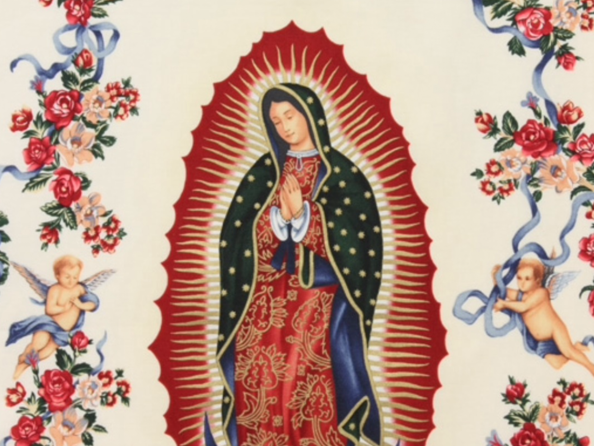 Our Lady Saint Mexico Virgin of Guadalupe Flowers Floral Cream background Cotton fabric Quilt fabric R251 / 619