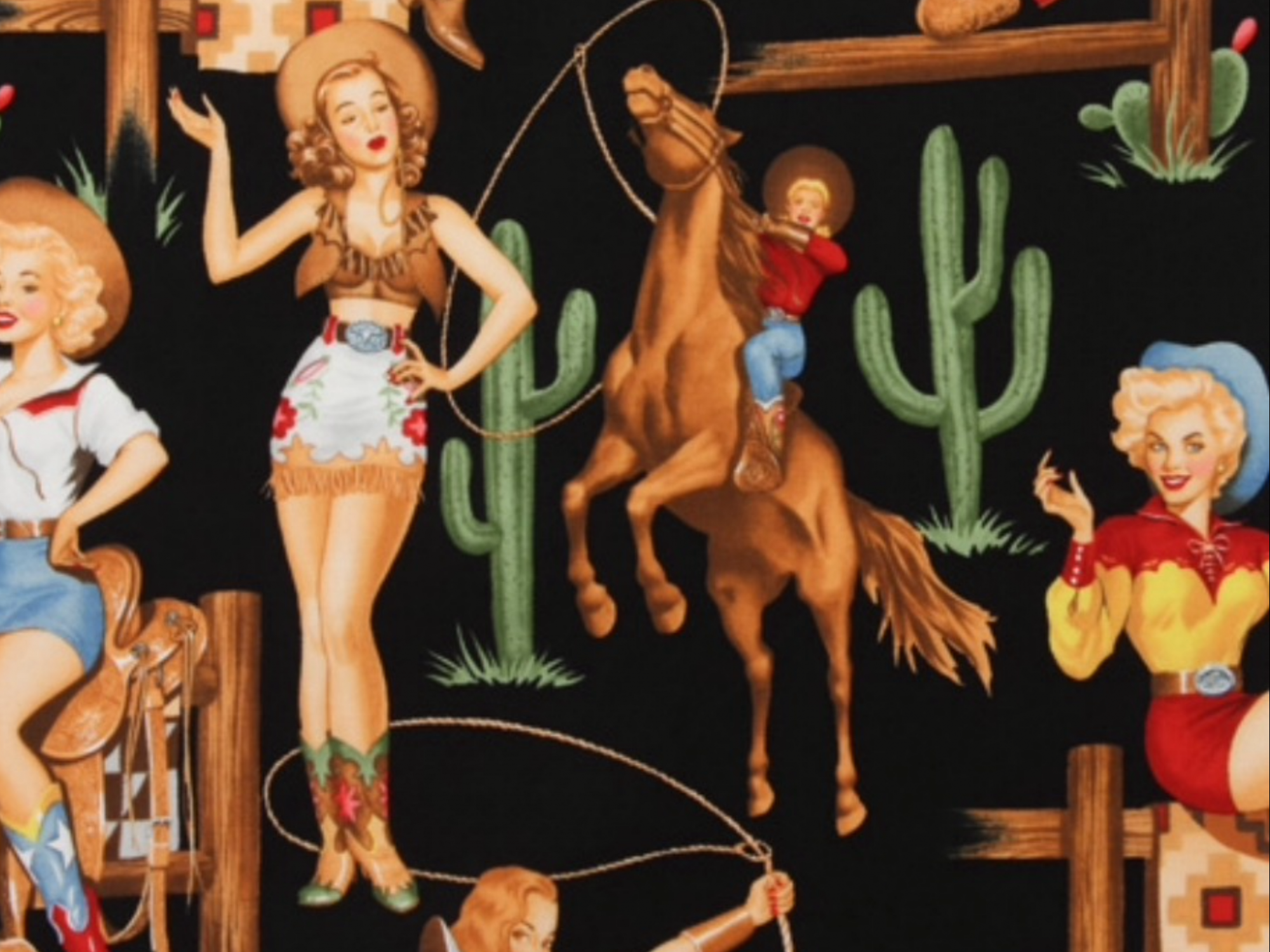 Wild West Sexy Pin Up Girl Back in the Saddle Cowgirl Rodeo Alexander Henry  Texas Boots Fringe Cactus Horse Cotton Quilt Fabric AH219