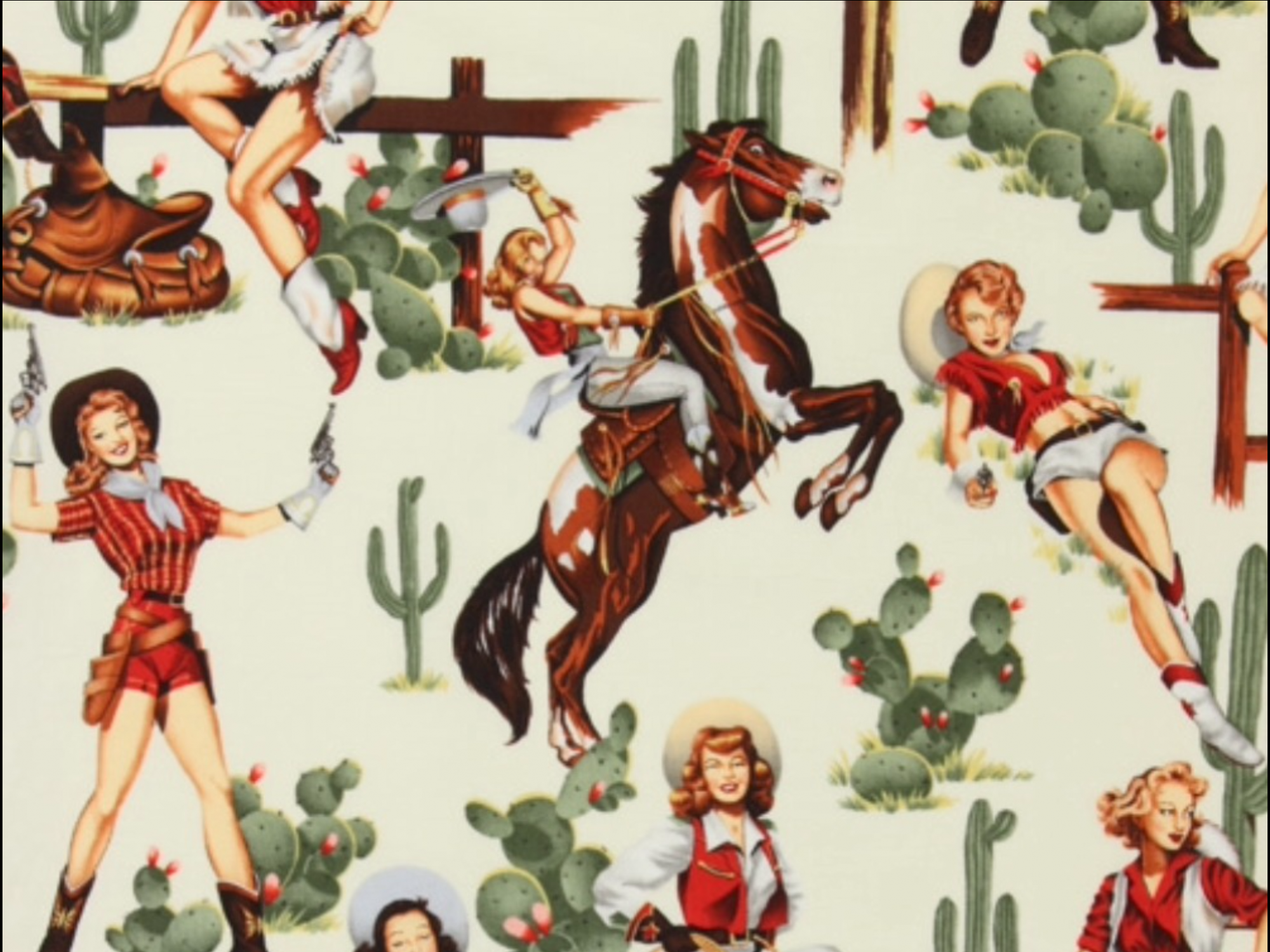 Wild West Sexy Pin Up Girls From the Hip Cowgirl Alexander Henry Rodeo Texas Boots Fringe Cactus Horse Cotton Quilt Fabric AH222