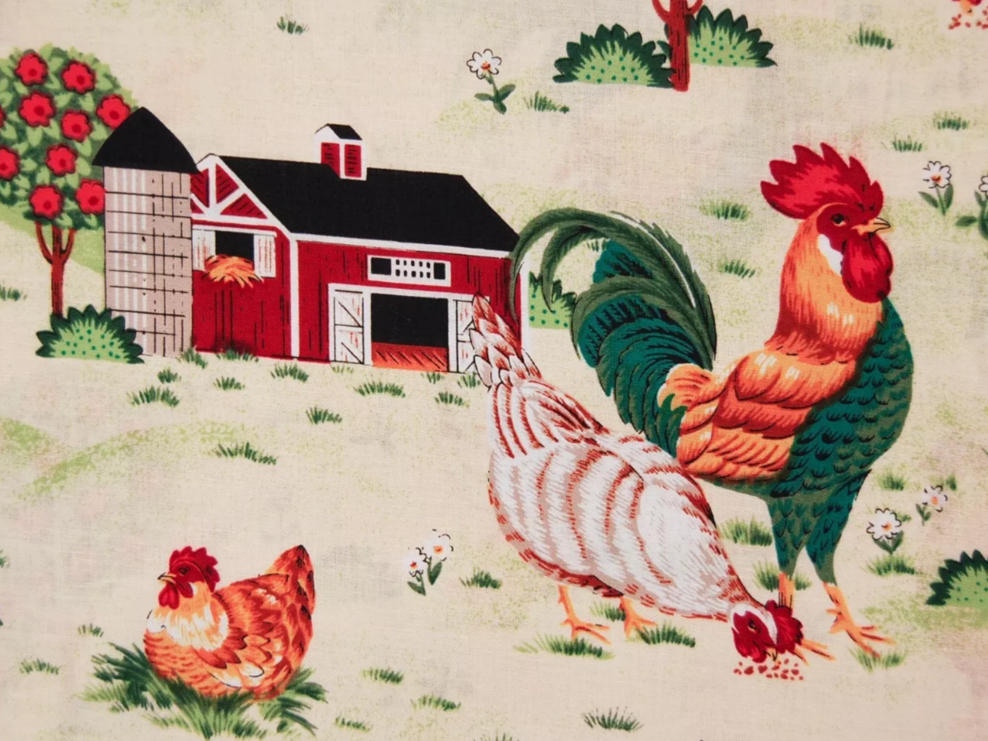 Roosters Chickens Country Farm Retro Cotton Quilt Fabric MD43
