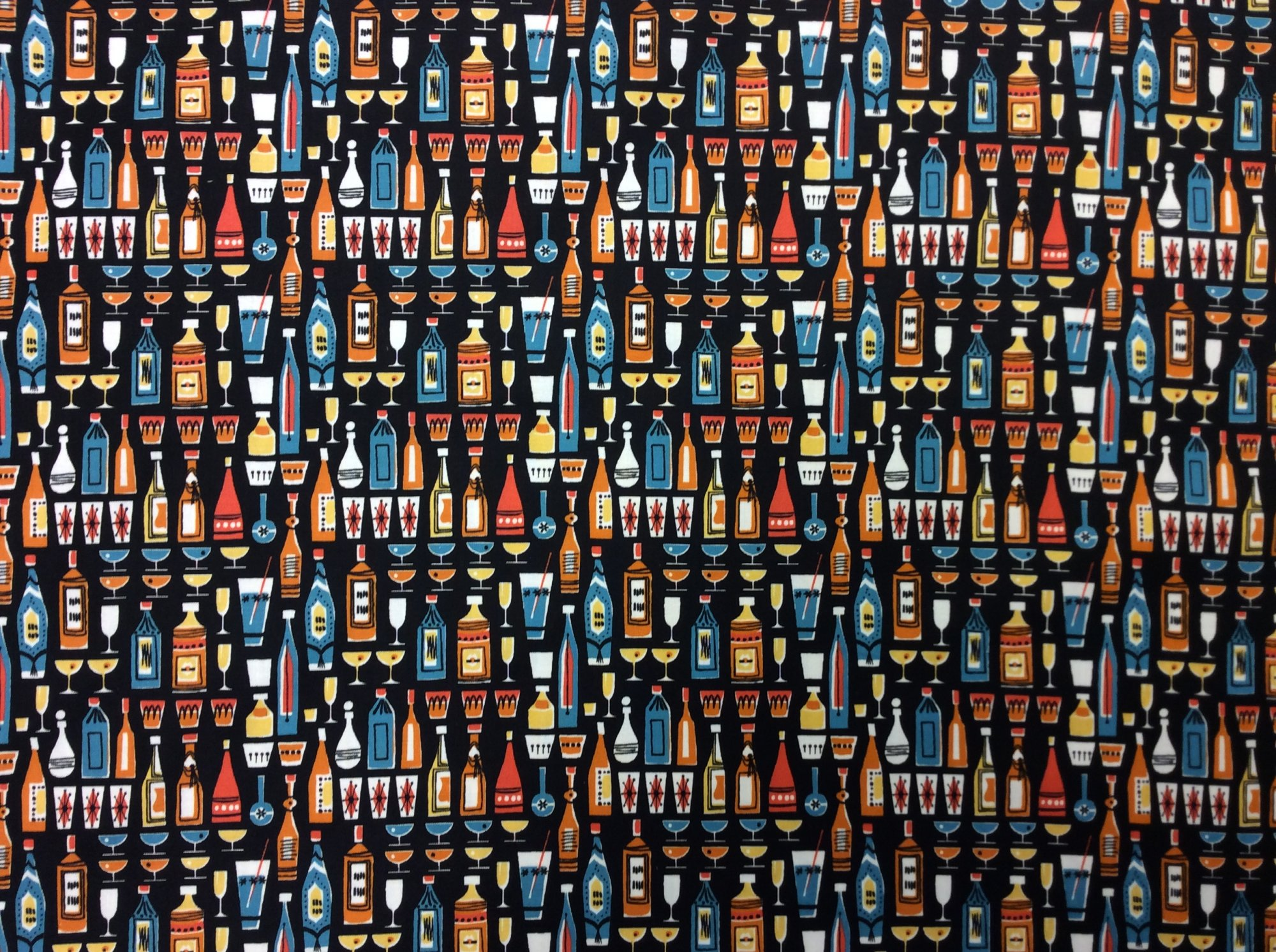 Retro Atomic Ranch Vintage Bar Kitchen Cocktail Cotton fabric Quilt fabric MM136