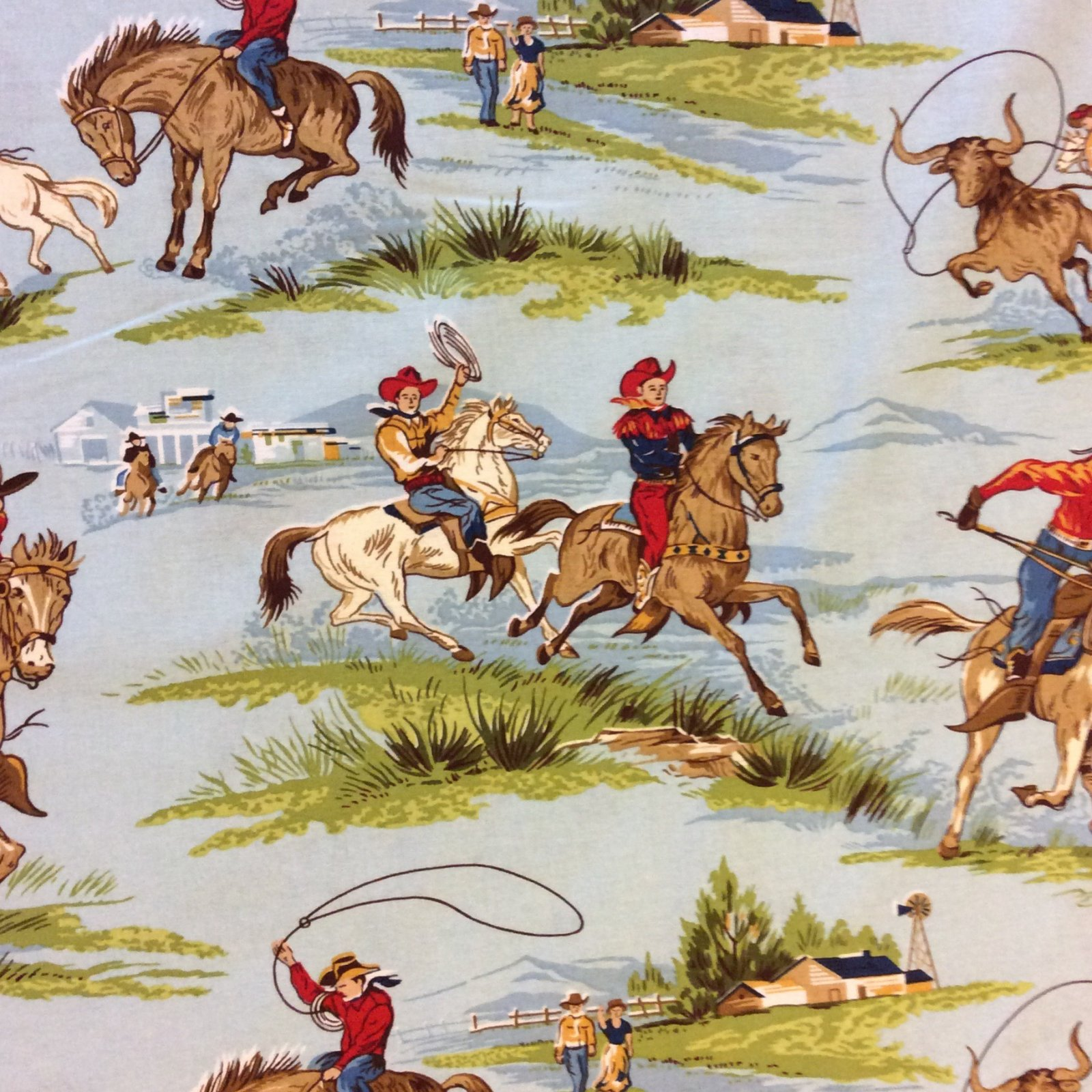 Wild West Cowboy Cattle Ranch Horses Farm Ranch Hand Lasso Rodeo Cowboys Cotton Quilt Fabric MD276