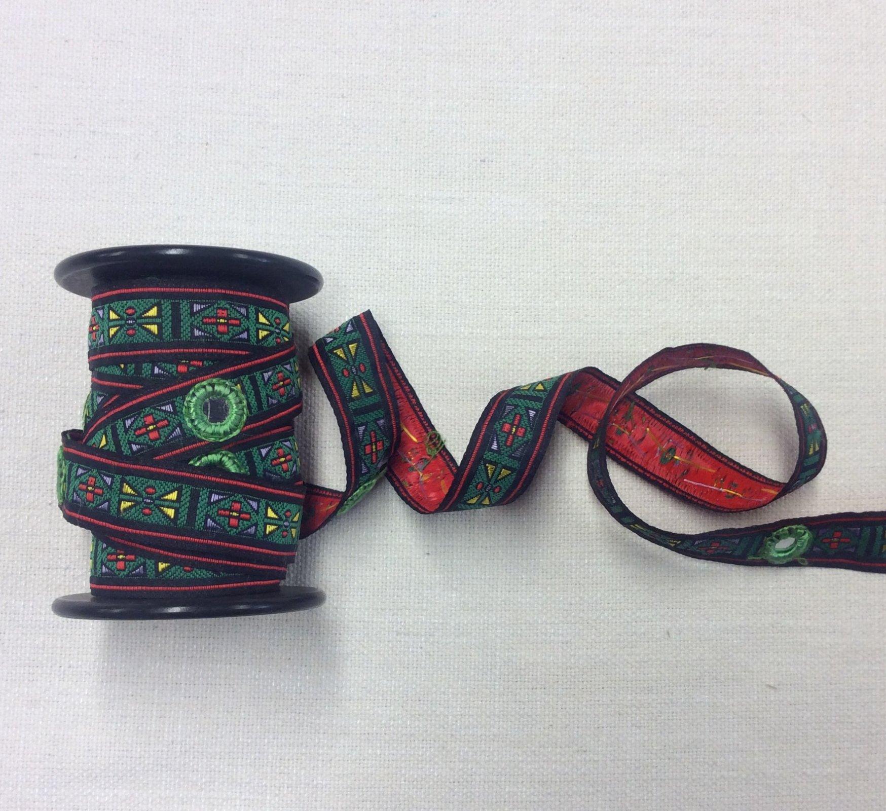 True Vintage Jacquard Aztec Boho Mirrored Ribbon Apparel Trim VTGRIB2